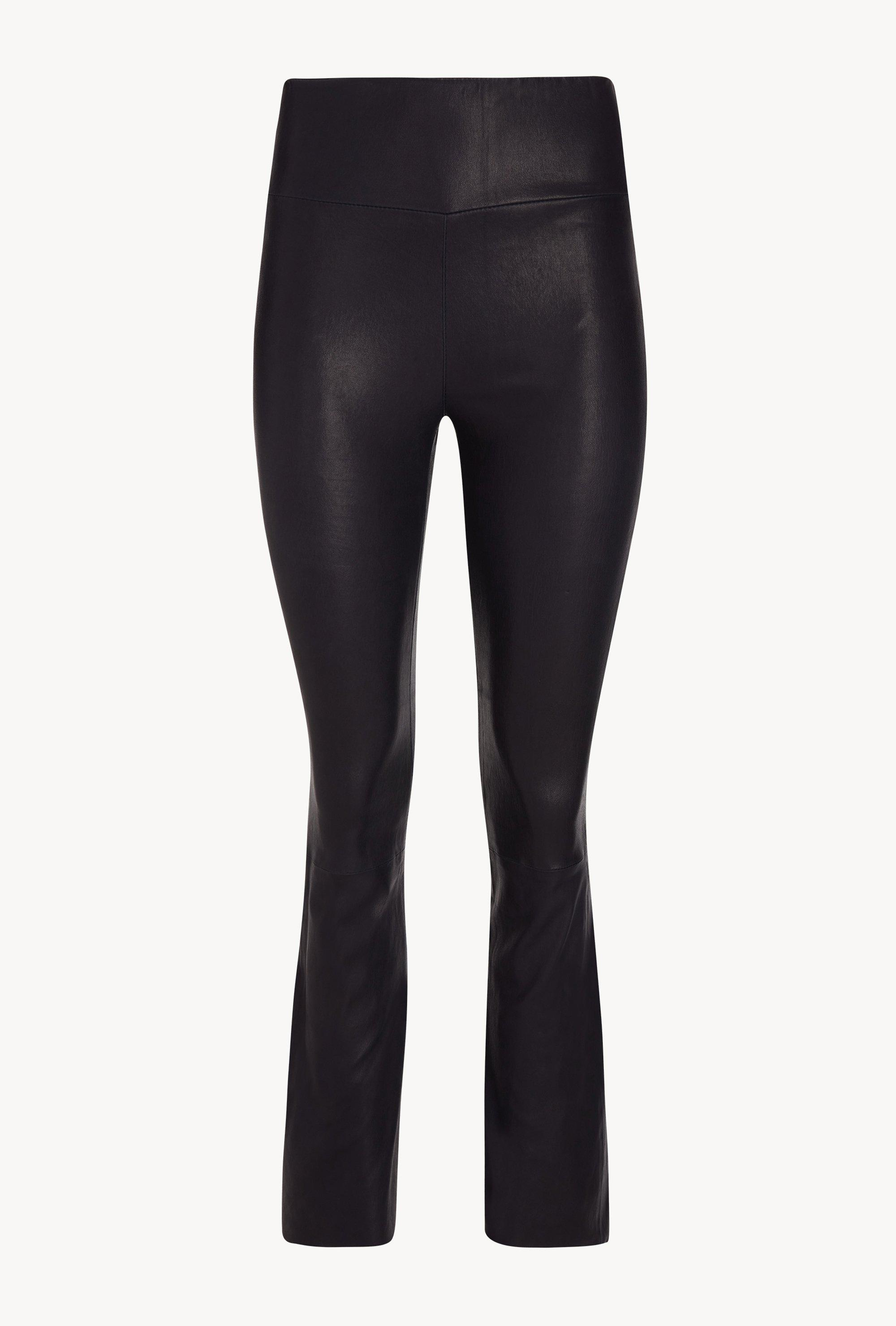 Navy Leather Ankle Flare Legging