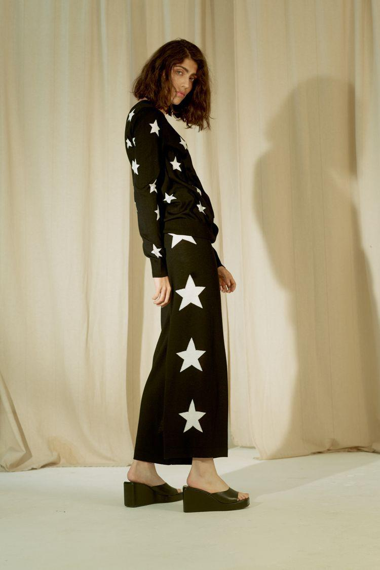 Stars Knit Wide Track Pant