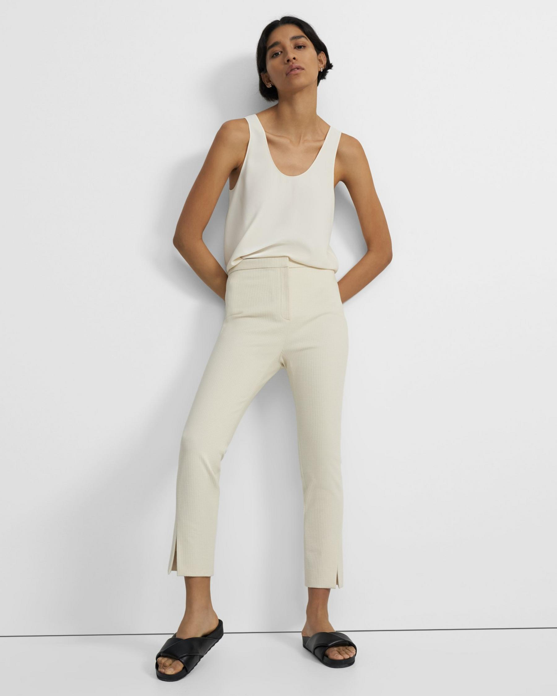Straight Slit Pant in Waffle-Knit Cotton