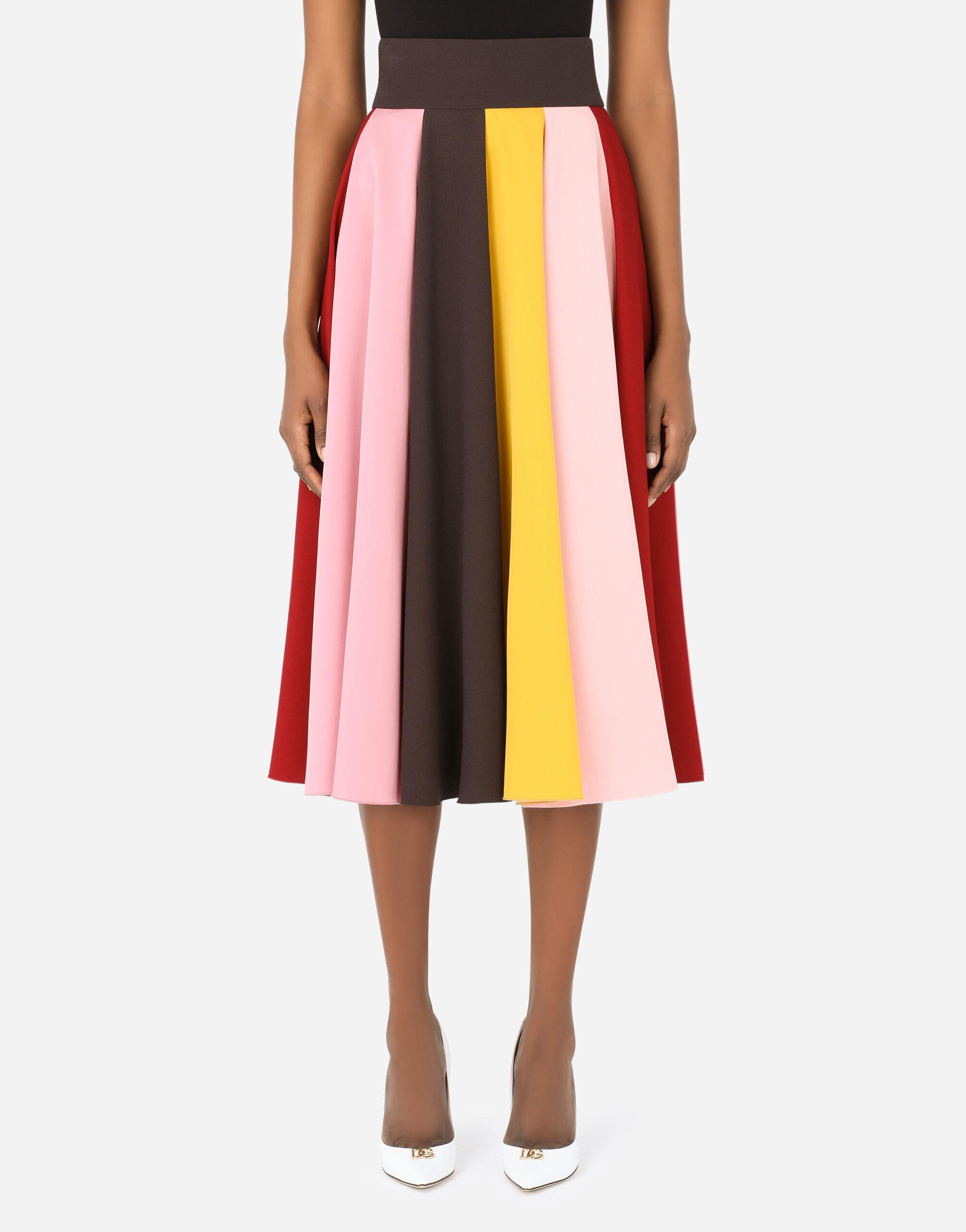 Multi-colored charmeuse and cady midi skirt