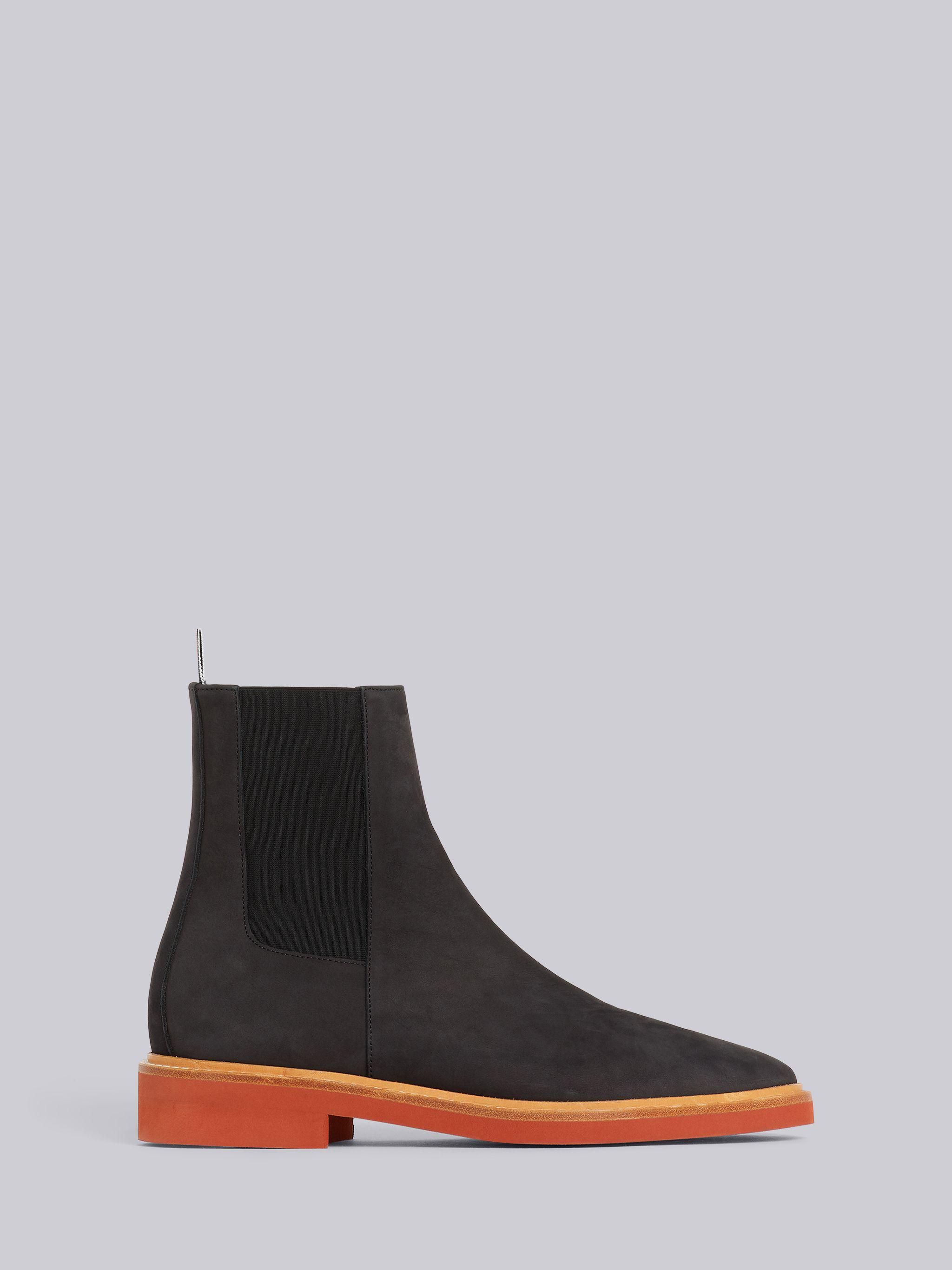 Black Suede 4-Bar Micro Sole Chelsea Boot