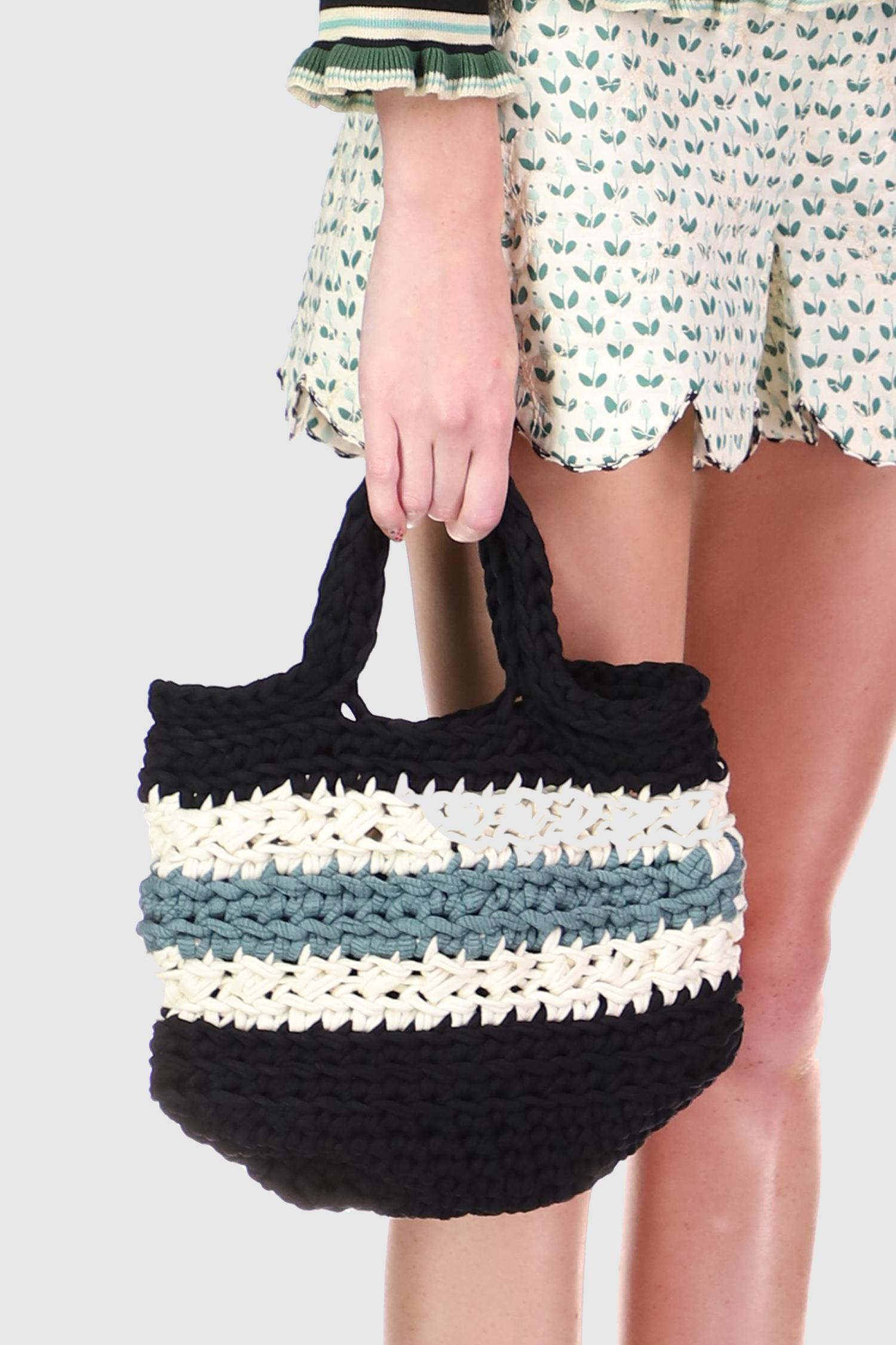 Recycled T-shirt Crochet Bag in Steel