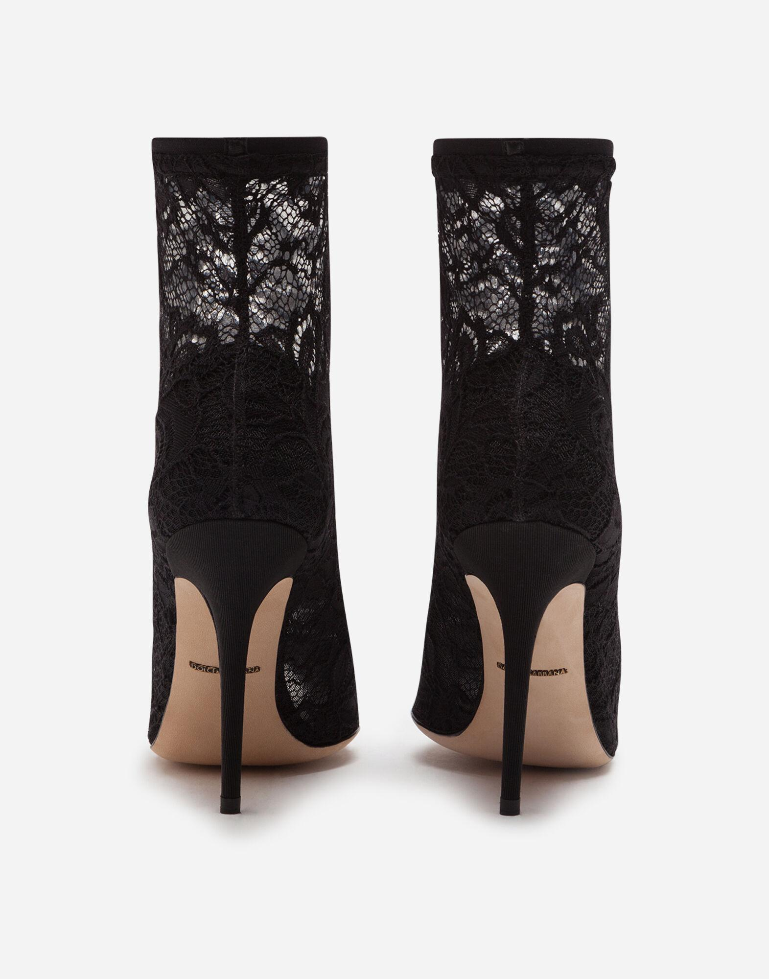Stretch lace and gros grain open-toe booties 2