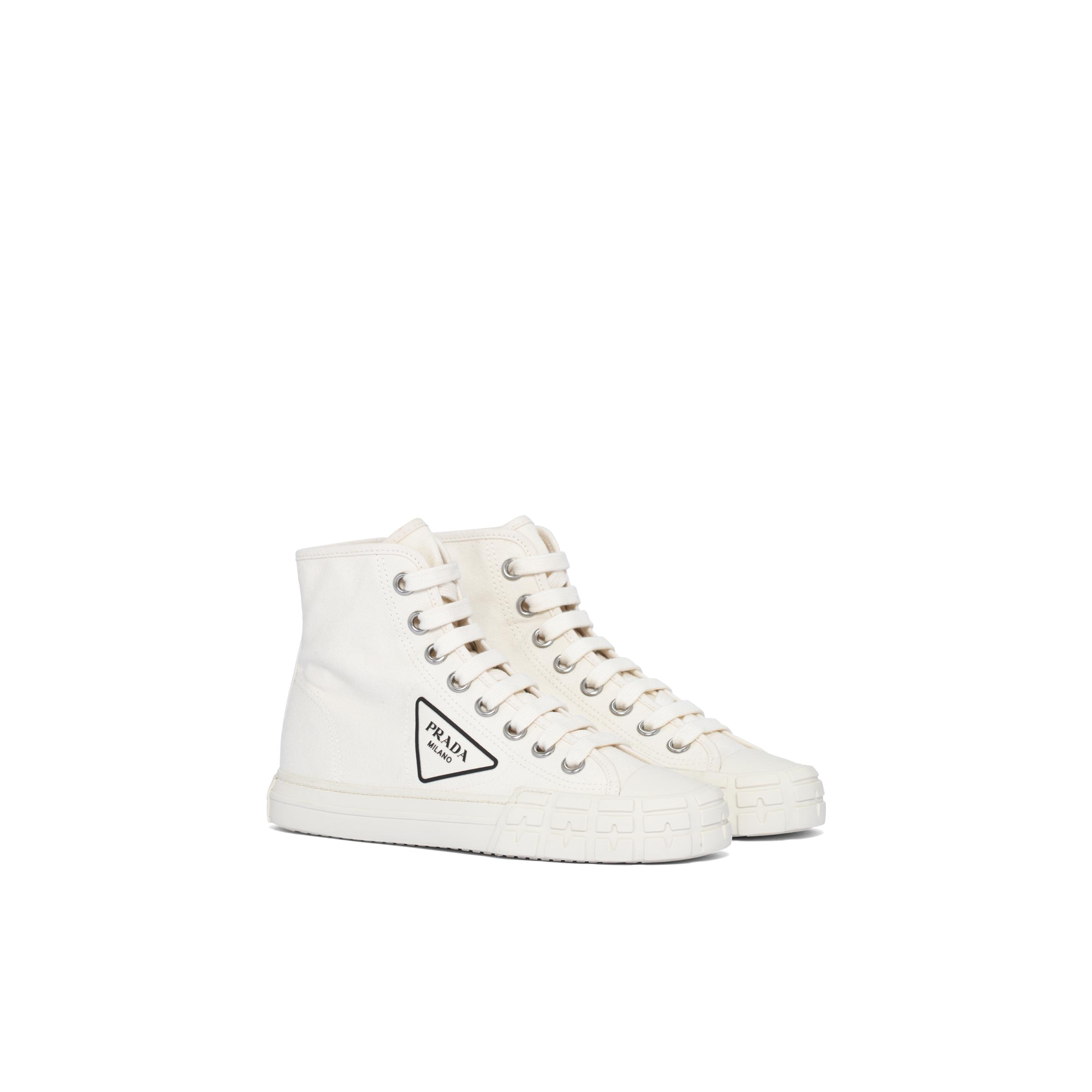Cotton Canvas High-top Sneakers Women Ivory