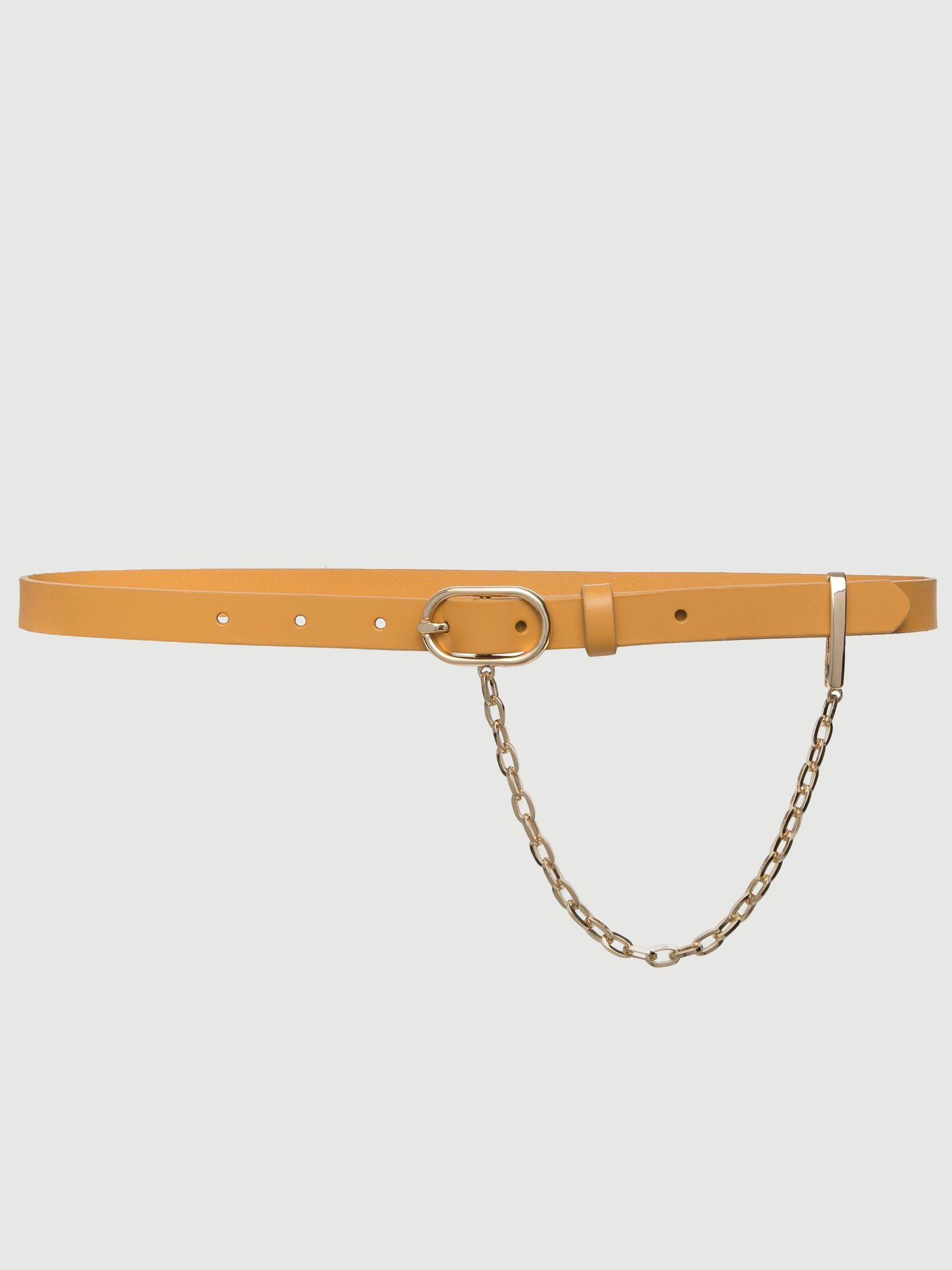 Le Petit Oval Buckle Belt with Chain -- Caramel