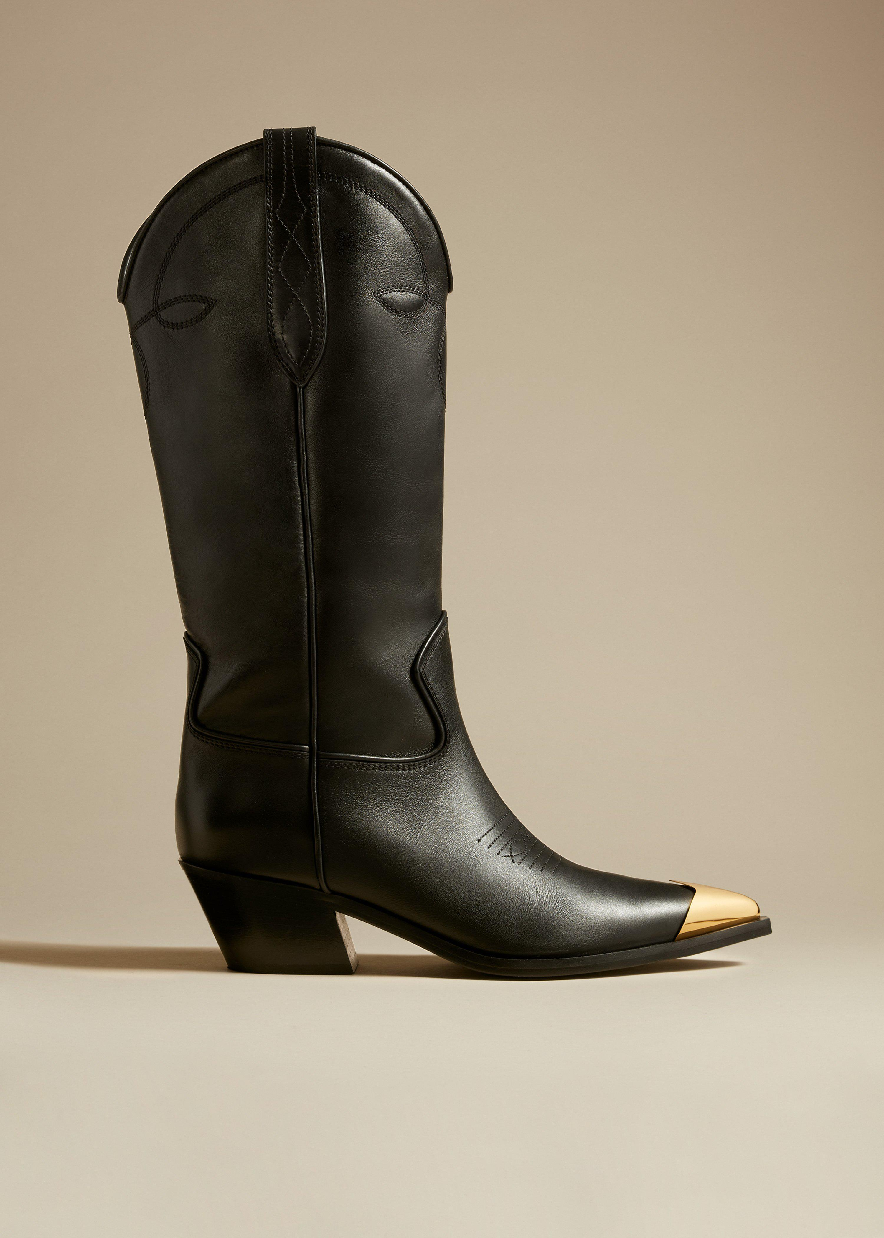 The Fontana Knee High Boot in Black Leather