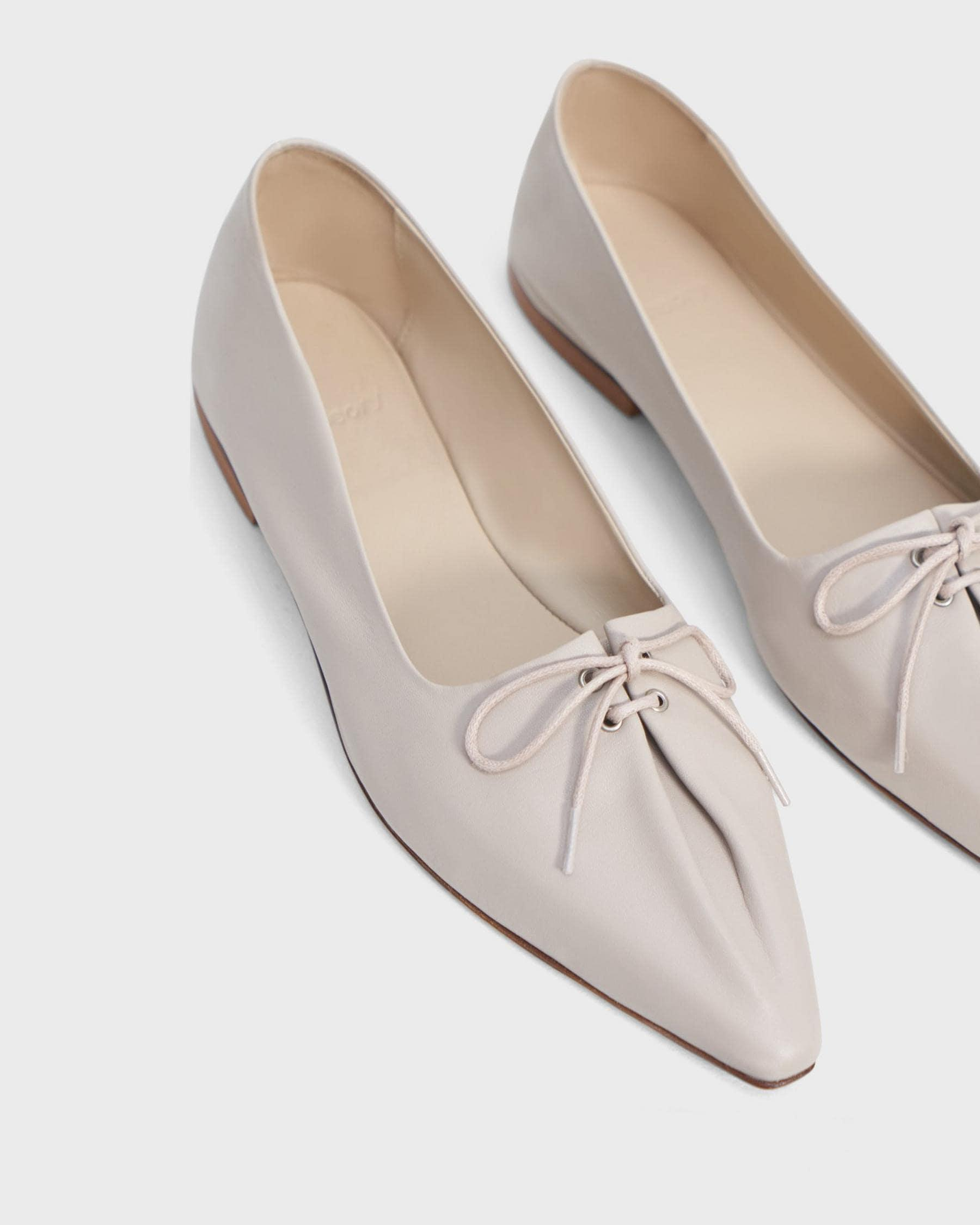 Pleated Ballet Flat in Leather 4
