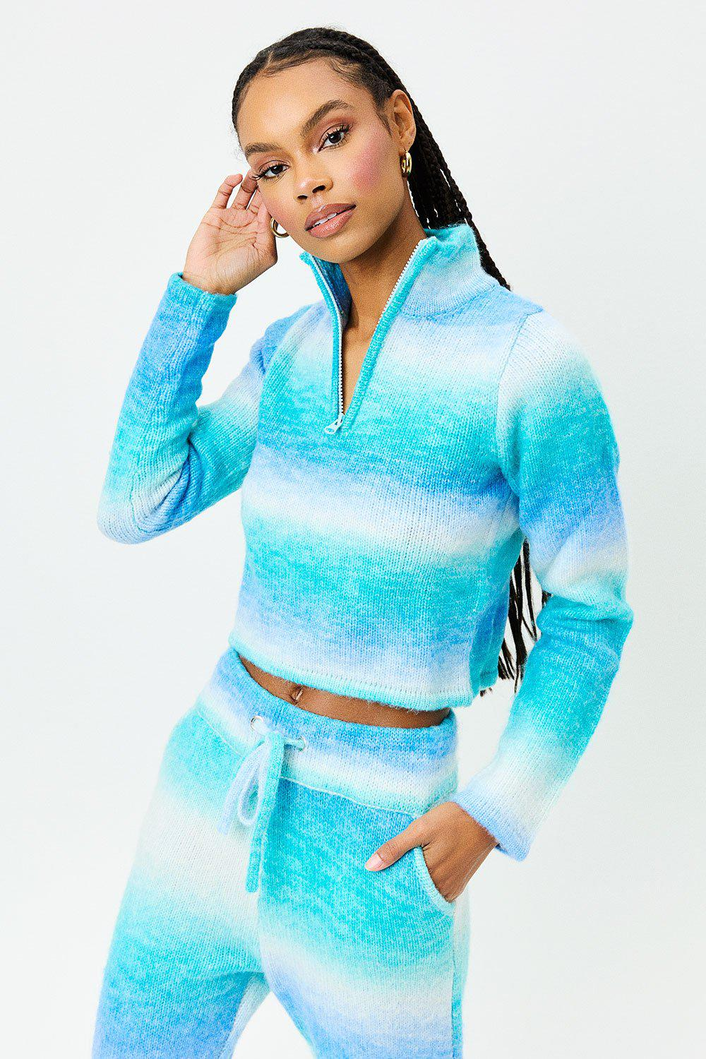 Bowie Cropped Knit Sweater - Blue Horizon