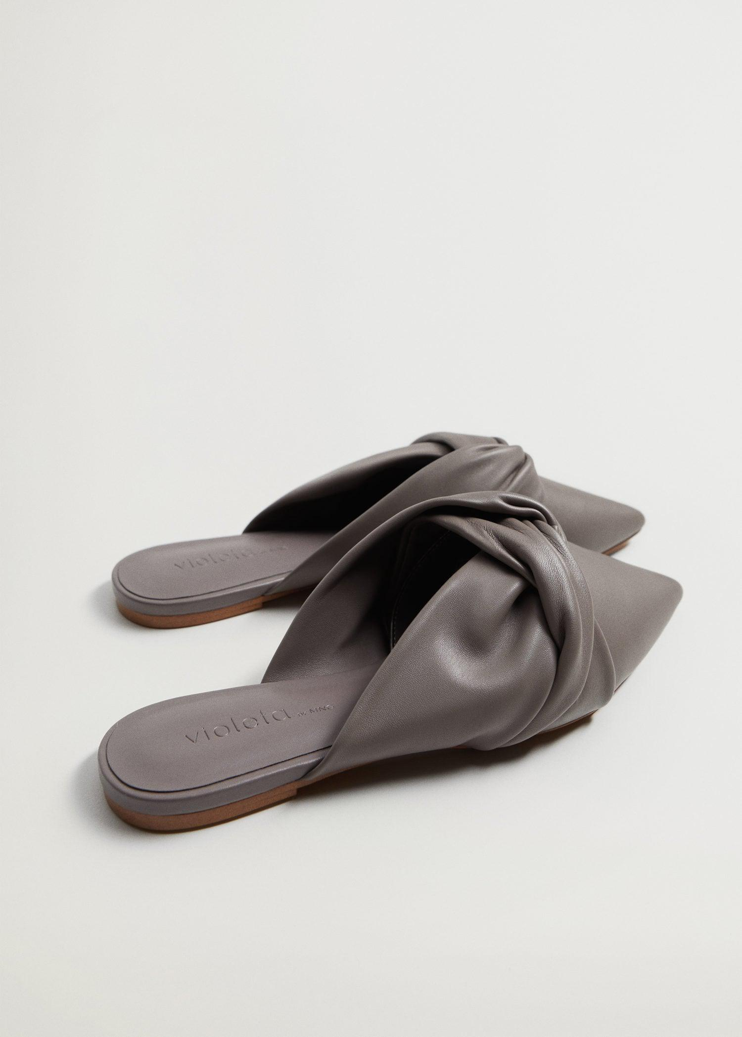 Bow leather mules 1