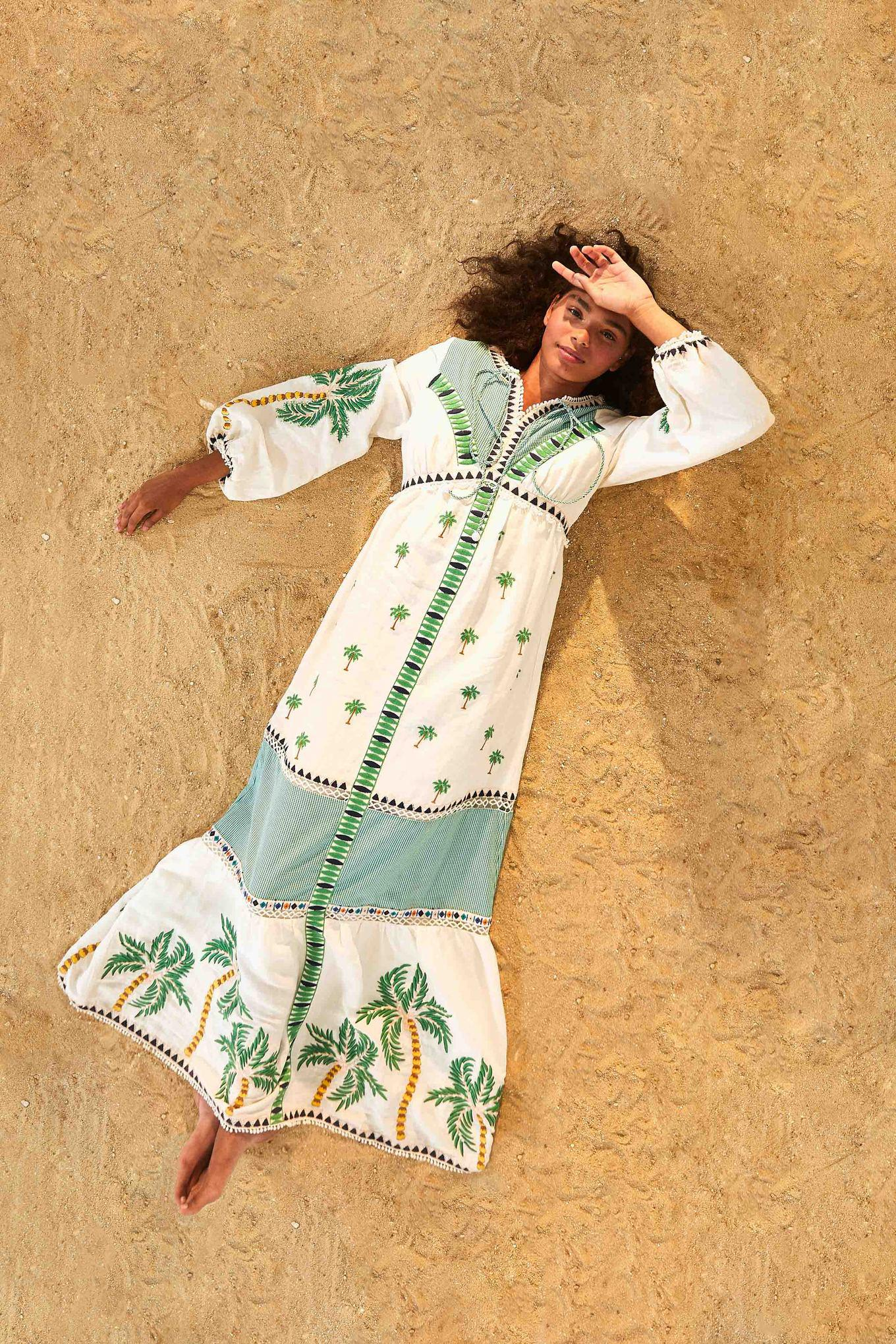 Palm Tree Embroidered Dress