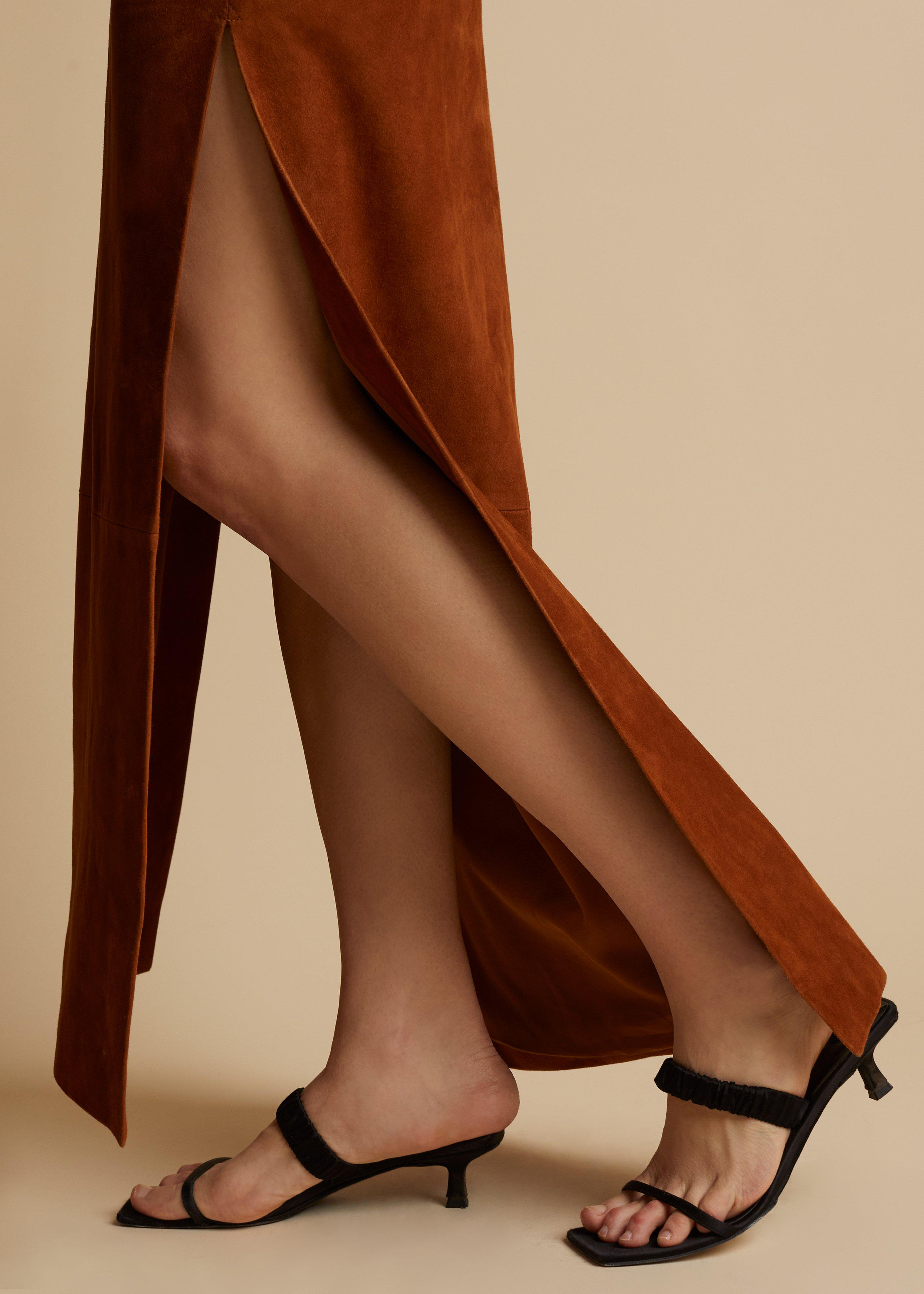 The Myla Skirt in Chestnut Suede 2