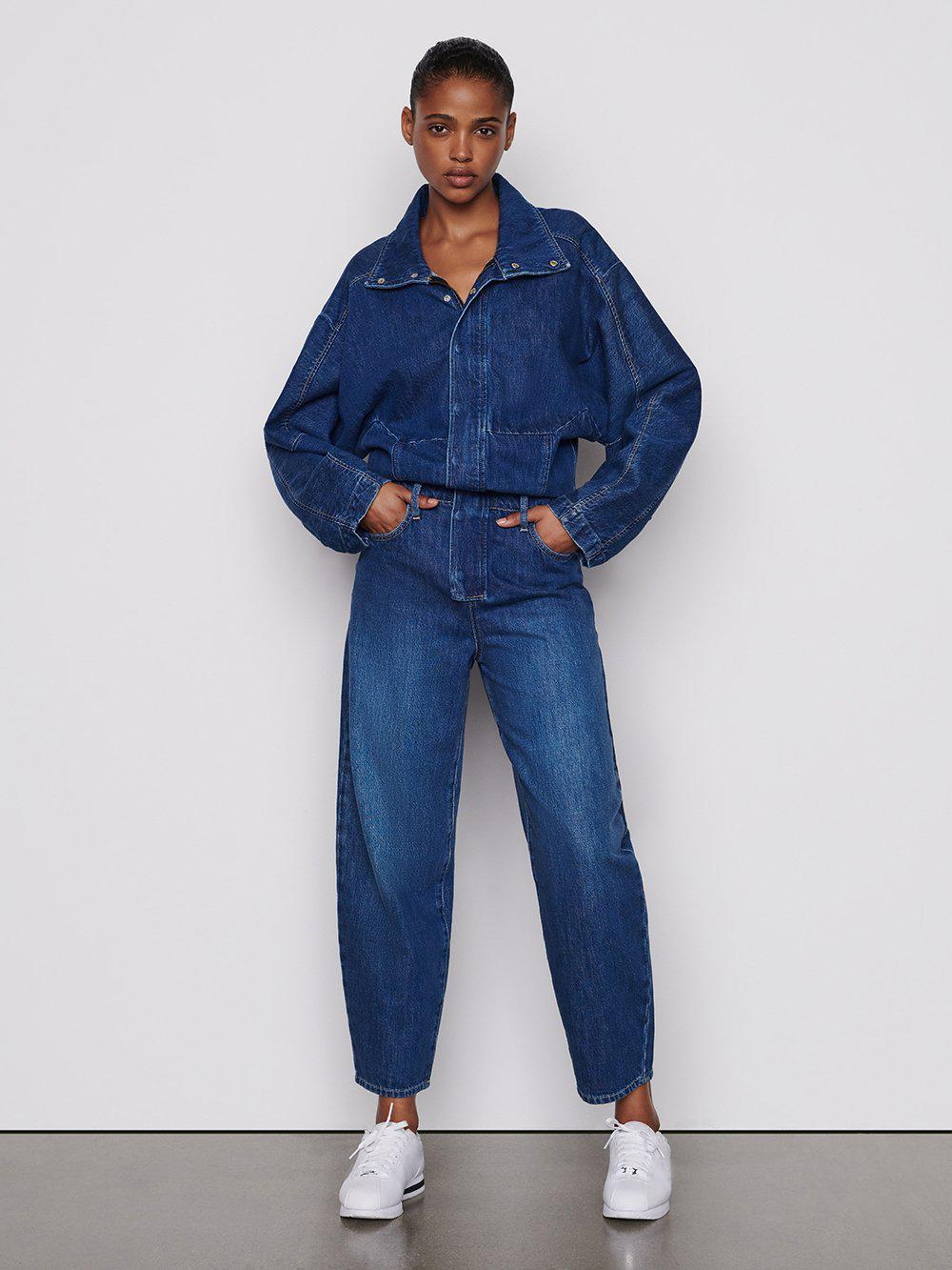 Structured Bomber Jumpsuit -- Frame Rinse