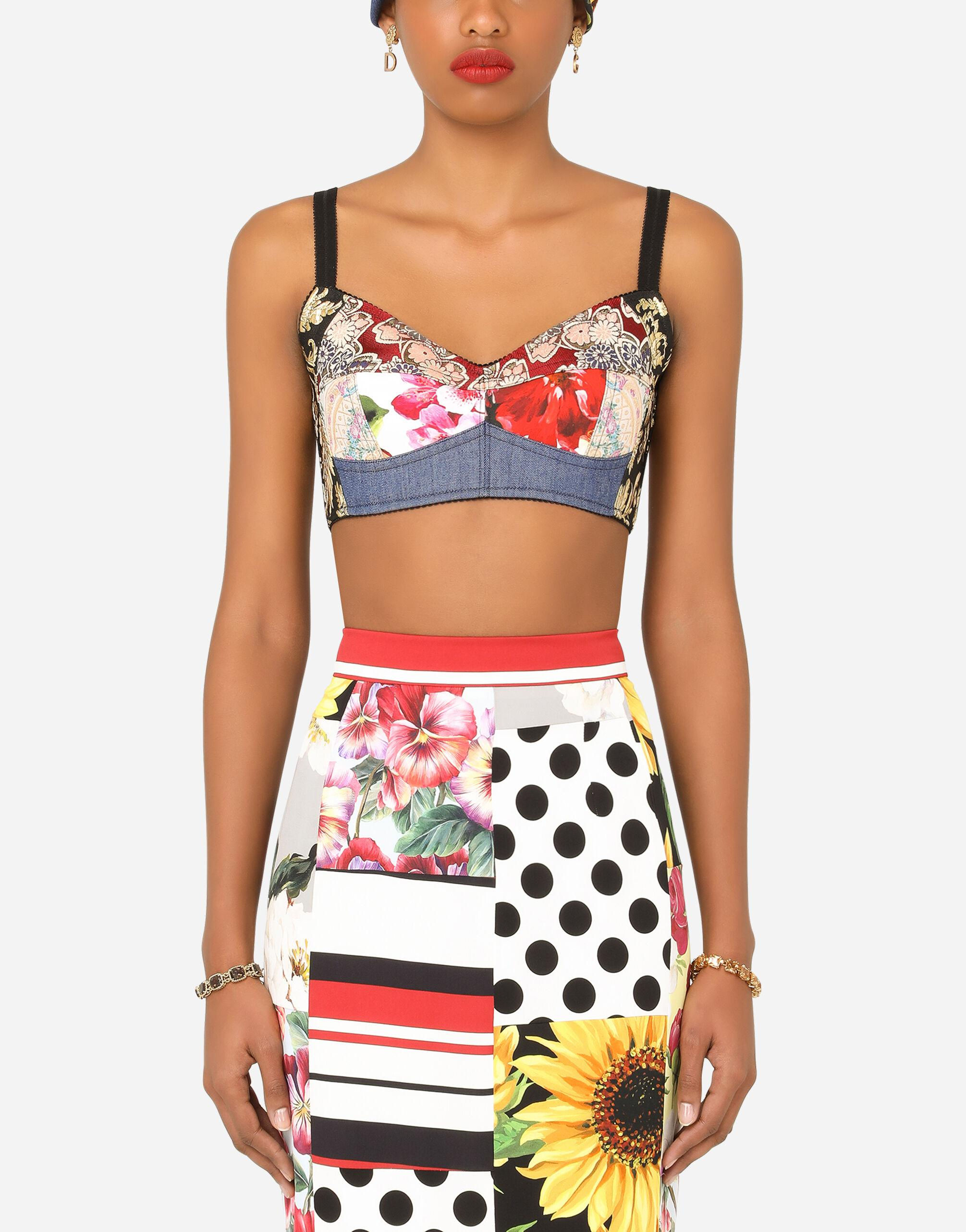 Patchwork drill and jacquard denim bustier top
