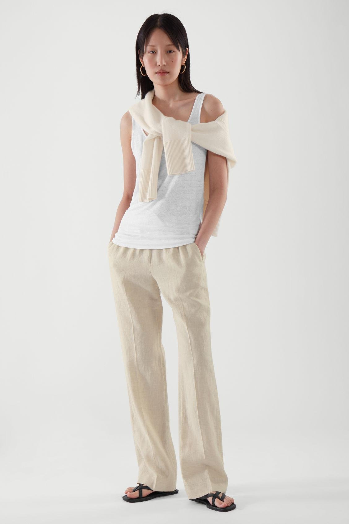 LINEN ELASTICATED TROUSERS