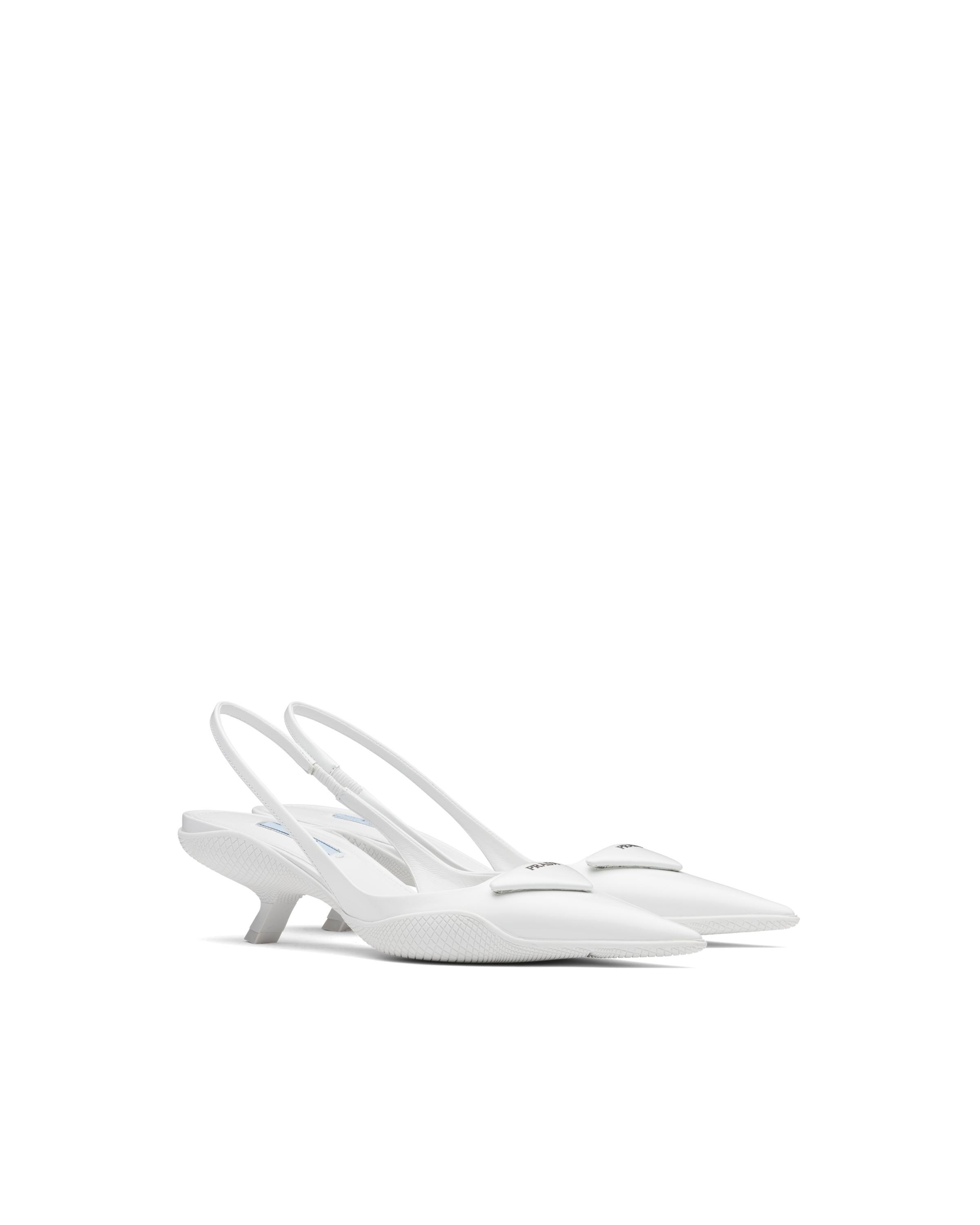 Brushed Leather Slingback Pumps Women White 5