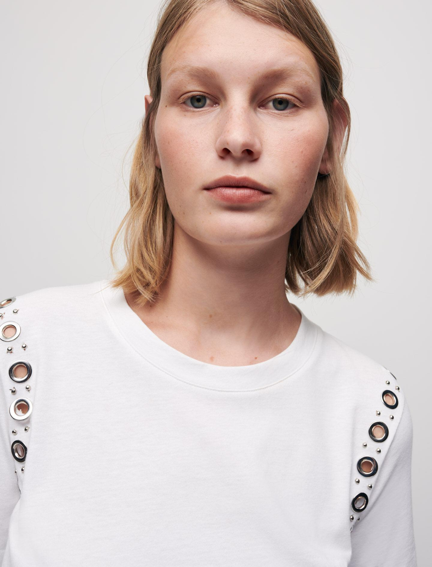 WHITE T-SHIRT WITH ROCK EYELETS 0