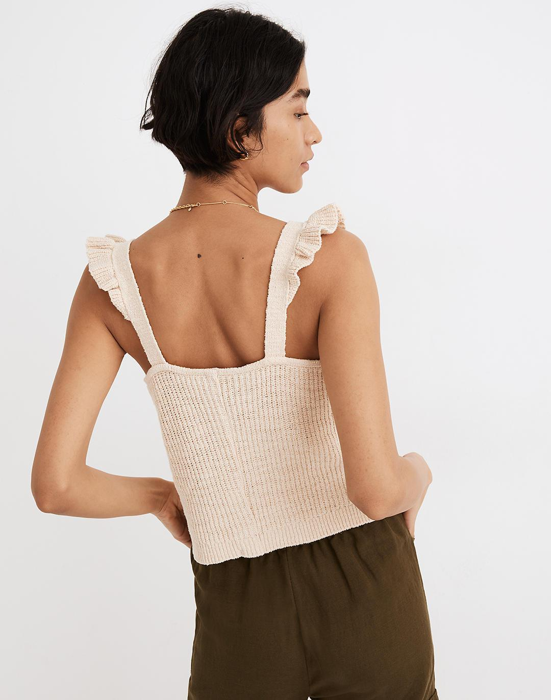 Ruffle-Strap Button-Front Sweater Tank 2