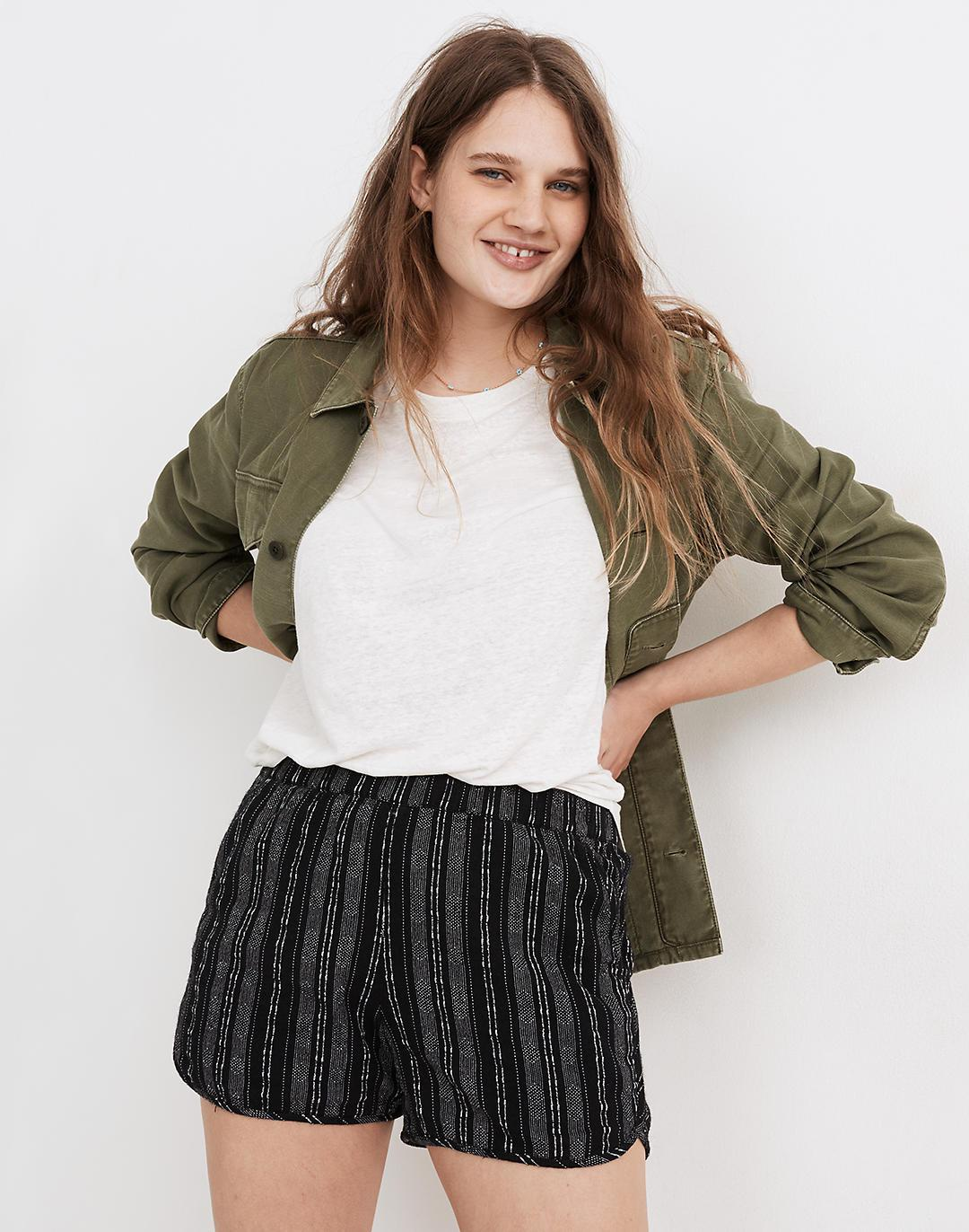Linen-Cotton Pull-On Shorts in Jacquard Stripe