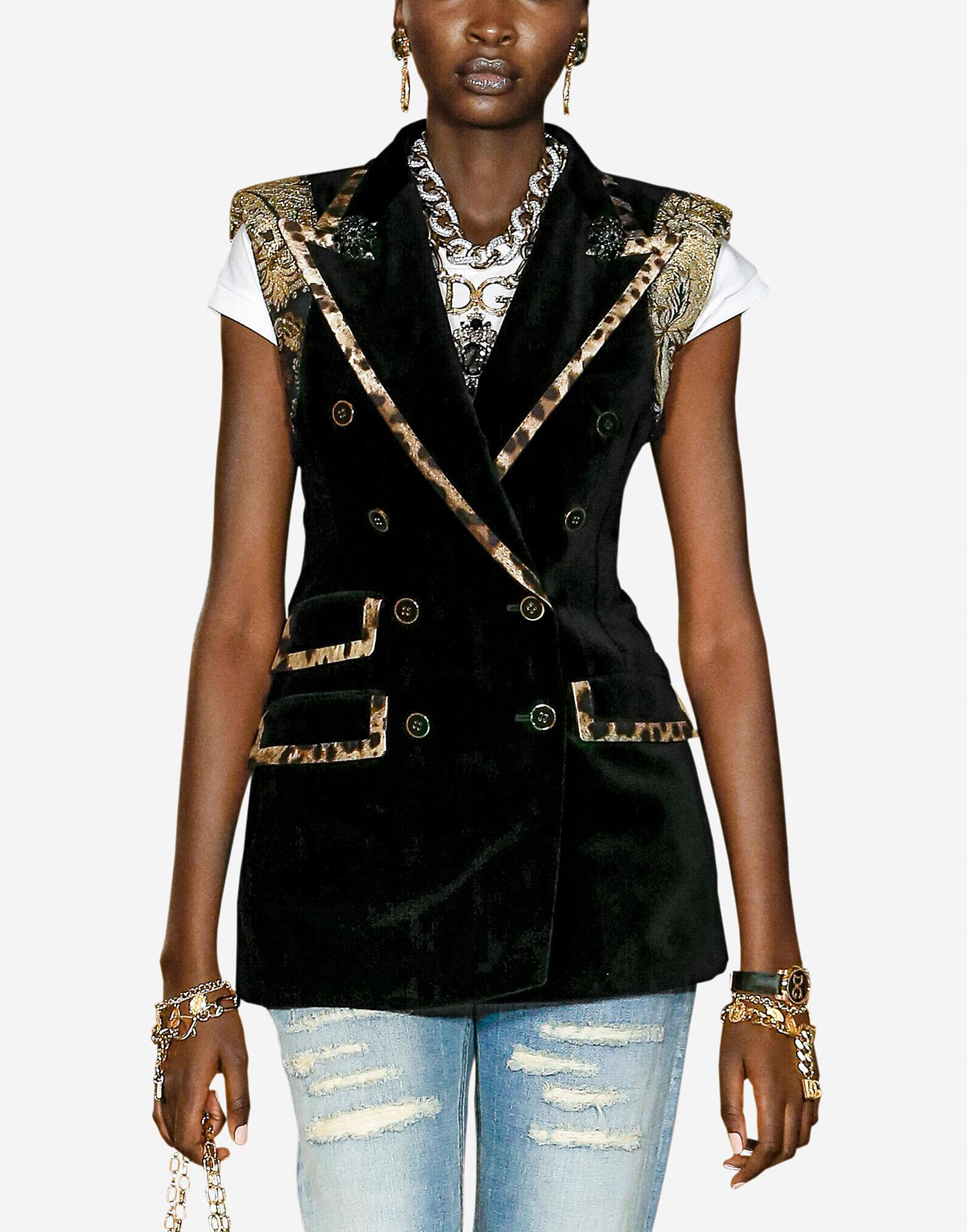 Double-breasted velvet vest with leopard-print trims
