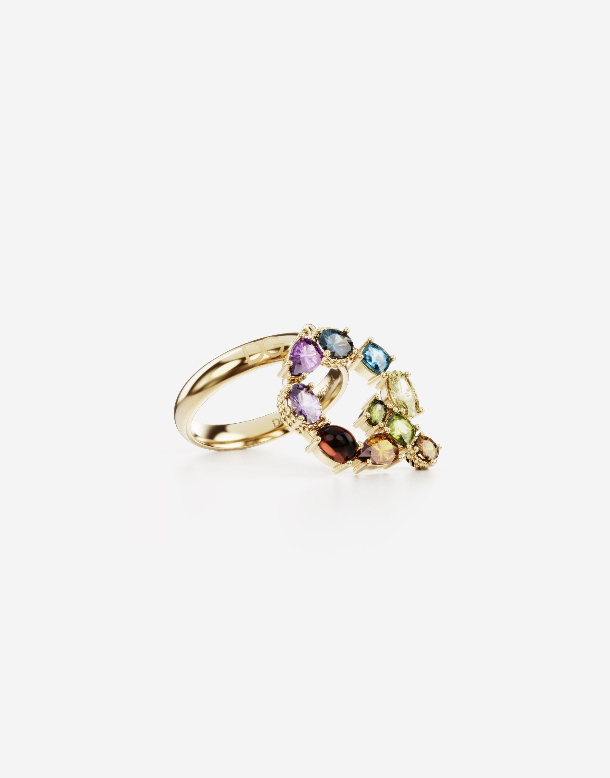 Rainbow alphabet Q ring in yellow gold with multicolor fine gems 1