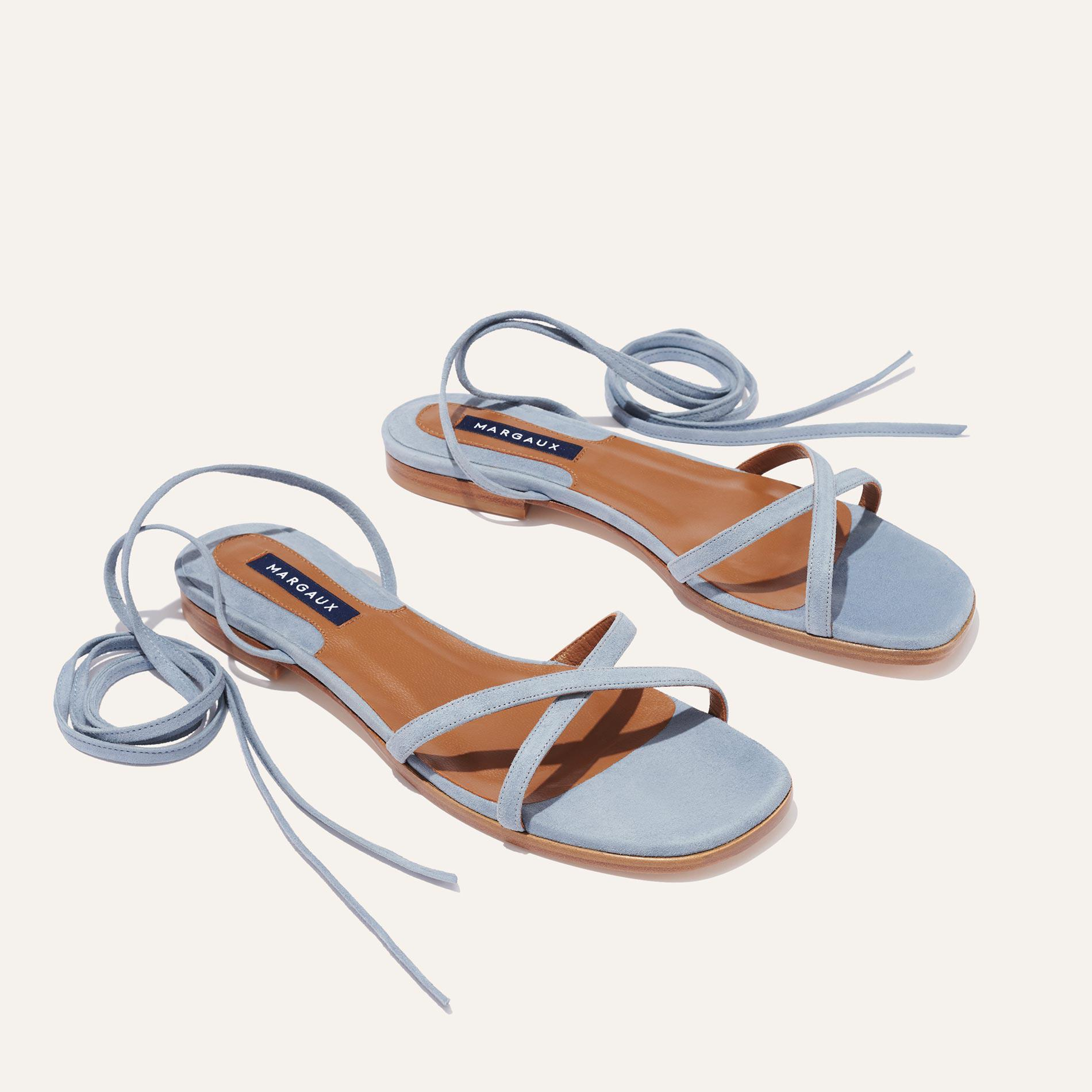 The Wrap Sandal - French Blue Suede 1