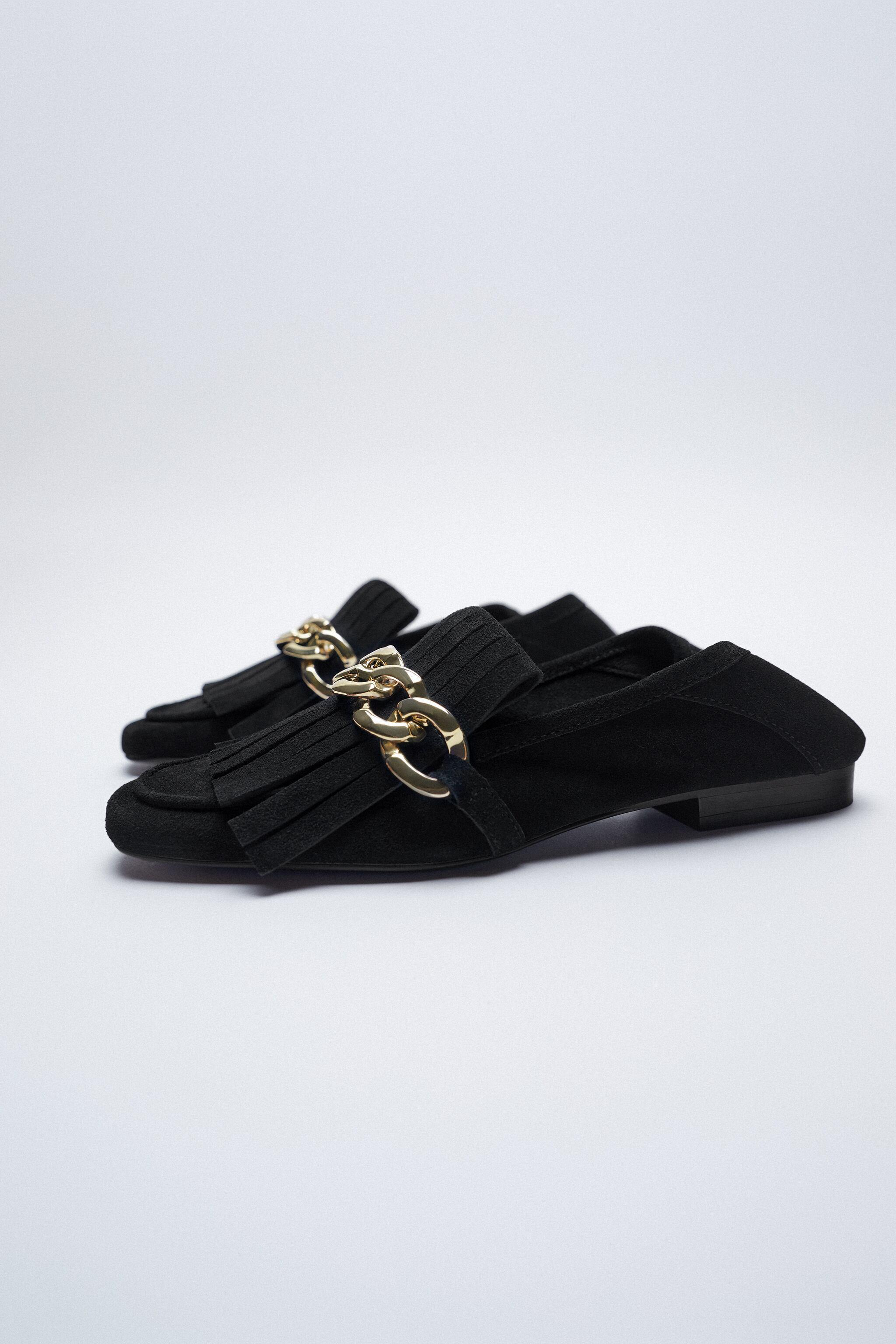 FRINGED SPLIT LEATHER MOCCASINS WITH CHAIN 7
