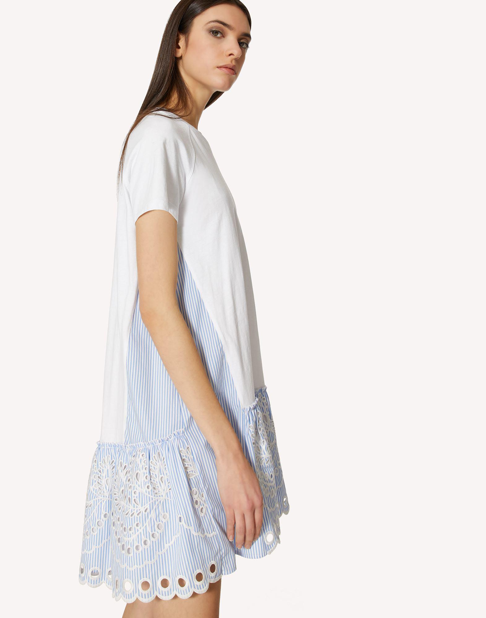T-SHIRT DRESS WITH STRIPED COTTON POPLIN AND SANGALLO EMBROIDERY 3