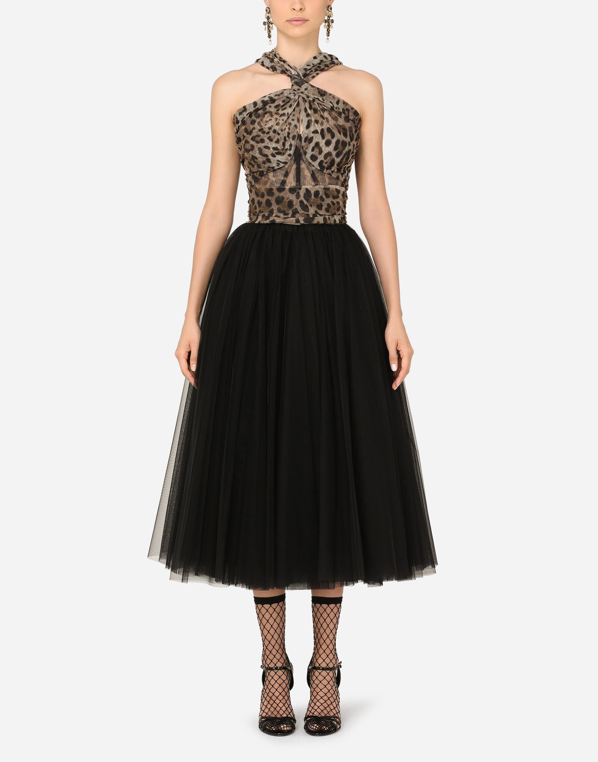 Calf-length dress in leopard-print and solid-colour tulle