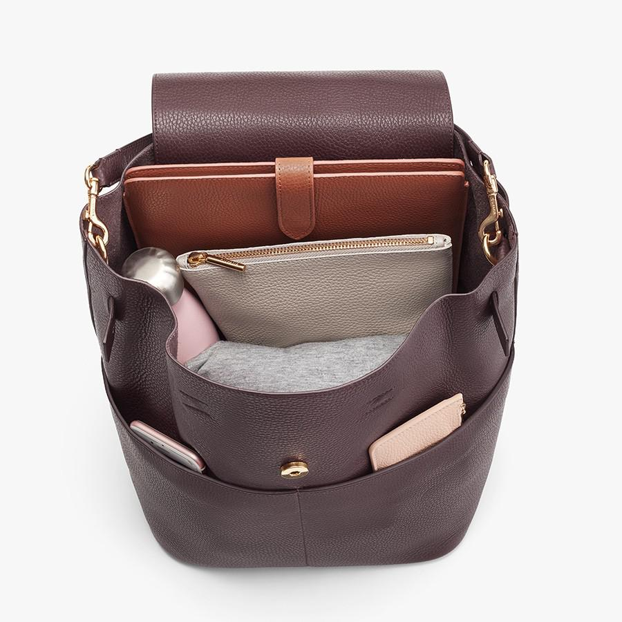 Women's Leather Backpack in Burgundy   Pebbled Leather by Cuyana 4
