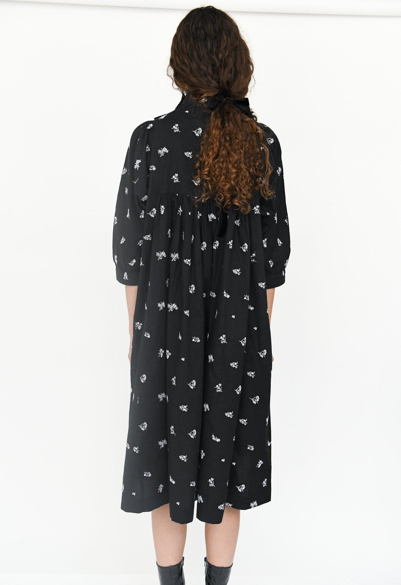Smock Dress in Black Embroidered Cotton 4