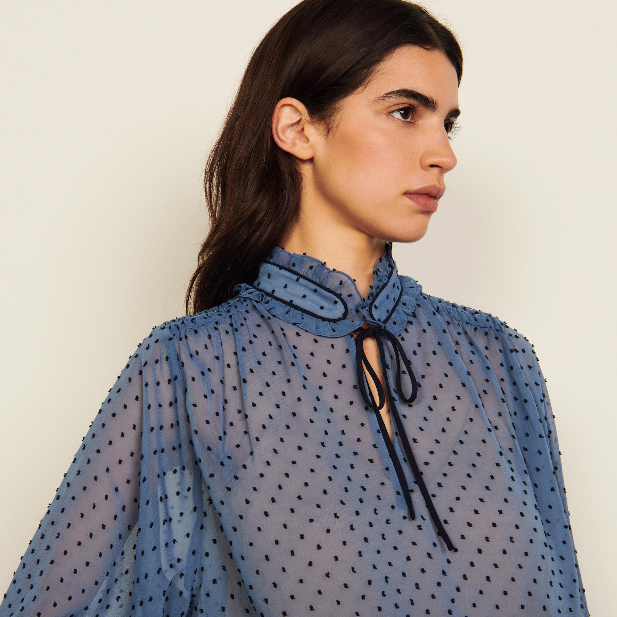Dotted Swiss high-neck top