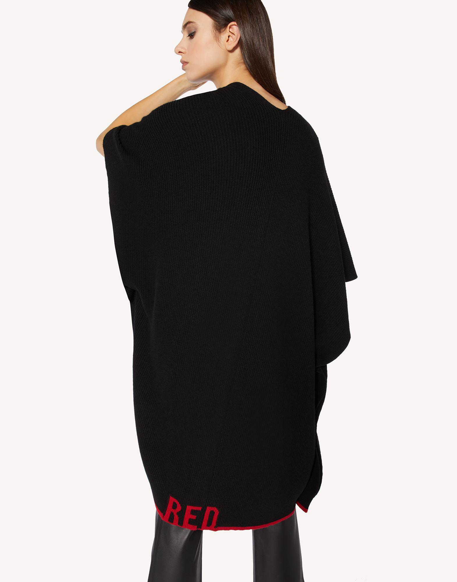 RED EMBROIDERED WOOL-BLEND KNIT CAPE 3