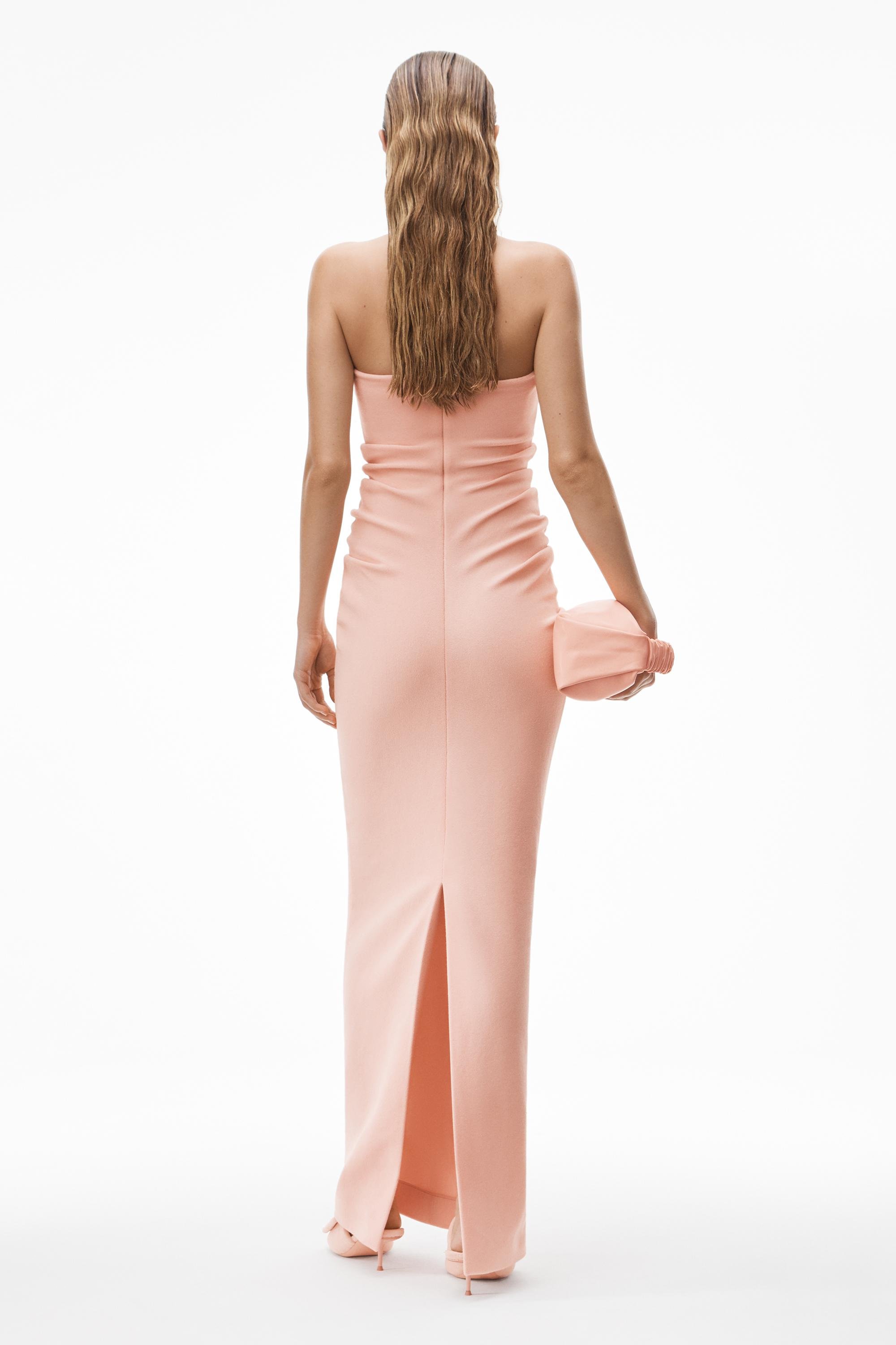 strapless column dress in ruched velour 4