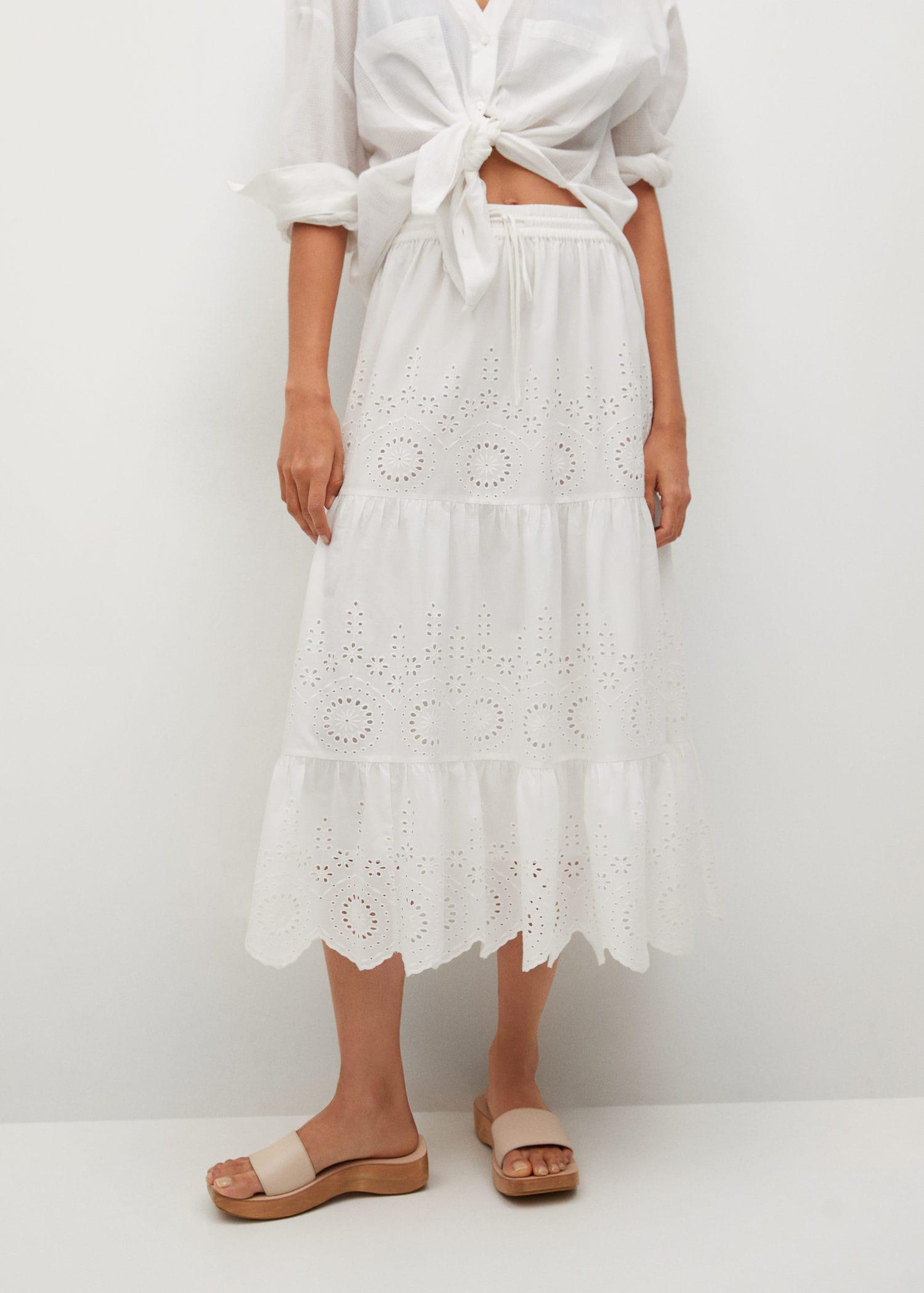 Broderie anglaise cotton skirt