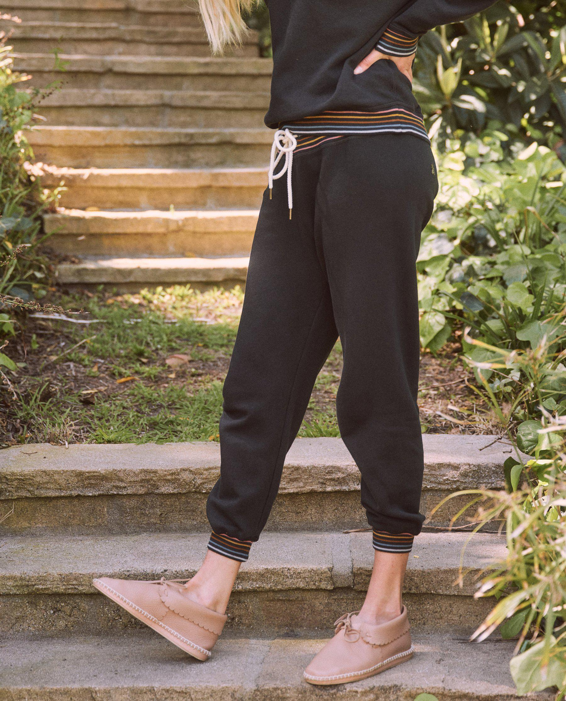 The Cropped Sweatpant. Novelty -- Almost Black with Striped Rib 2