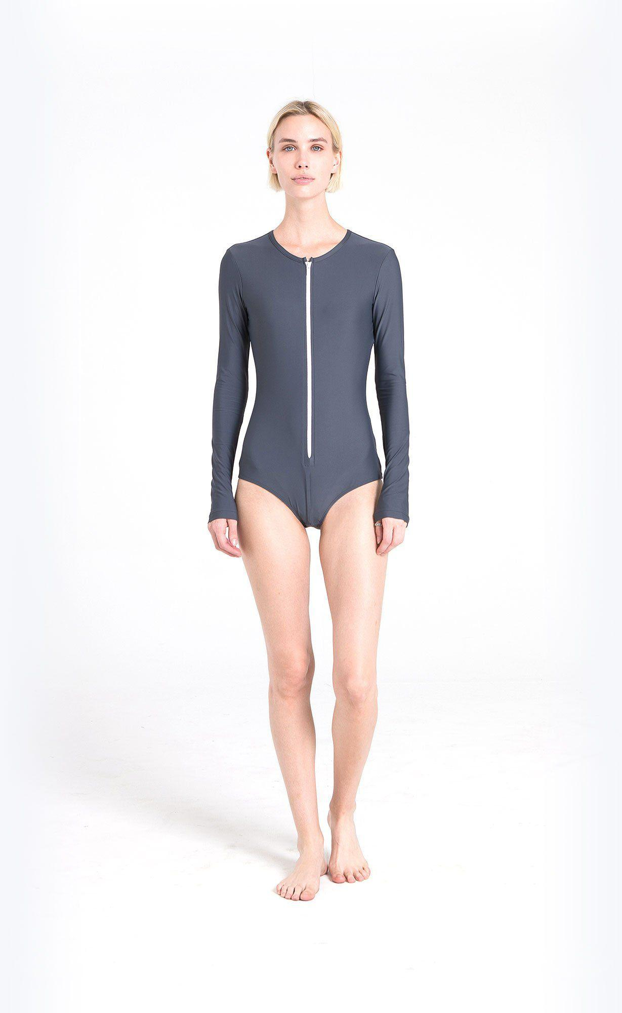Long-Sleeved Front Zip Swimsuit