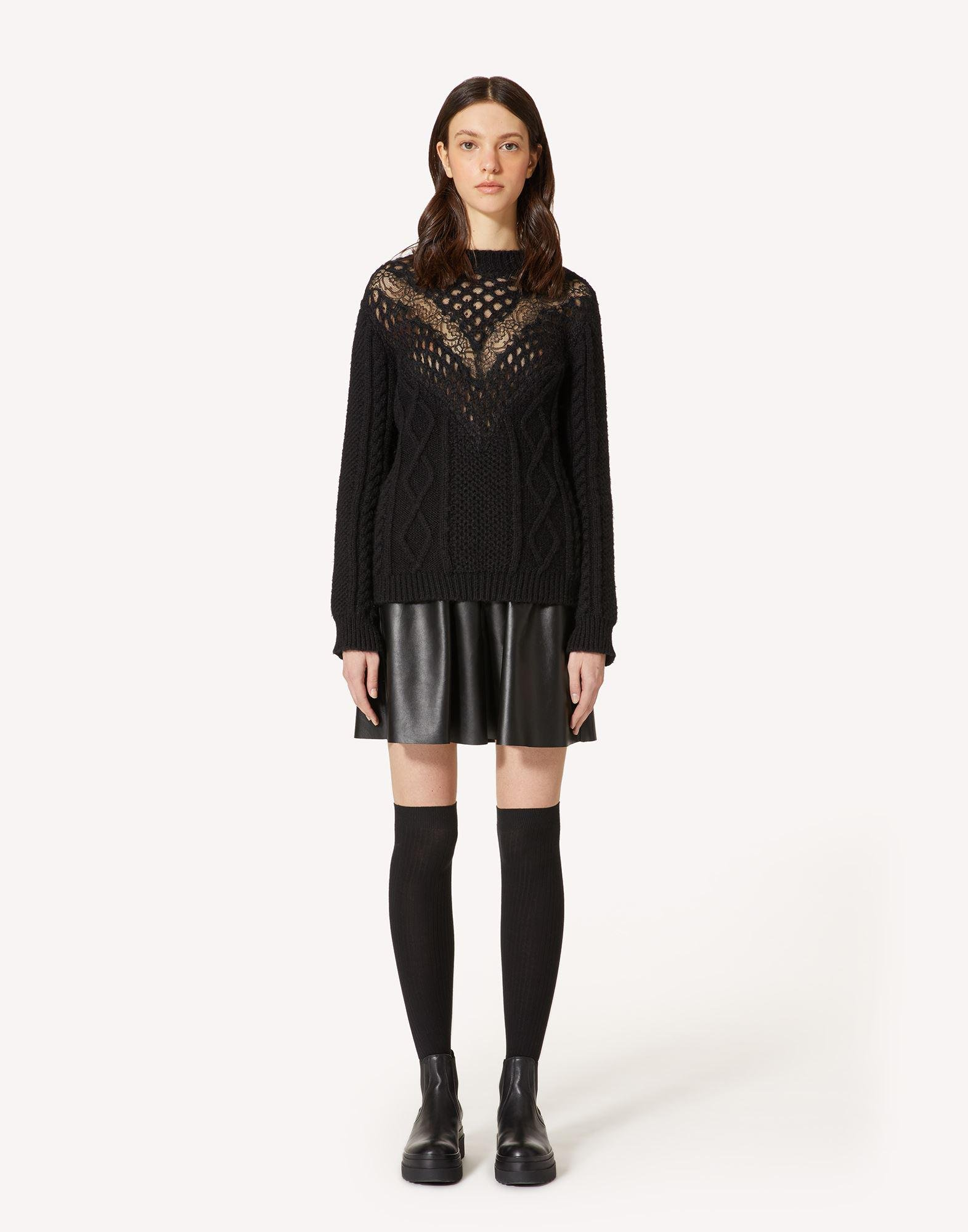 MOHAIR-BLEND AND LACE SWEATER