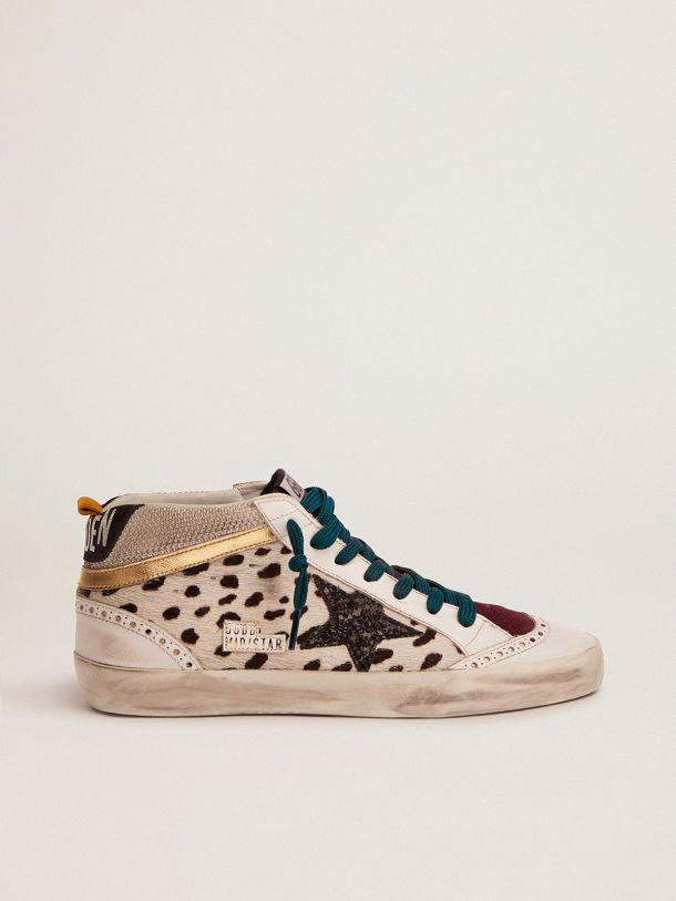 Mid Star sneakers with animal-print pony skin upper and black glitter star