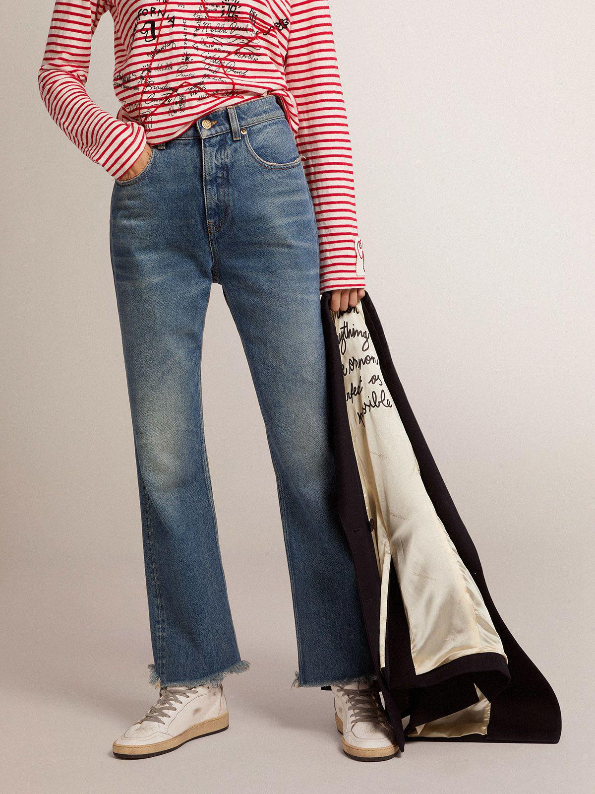 Golden Collection cropped flared jeans with a medium wash