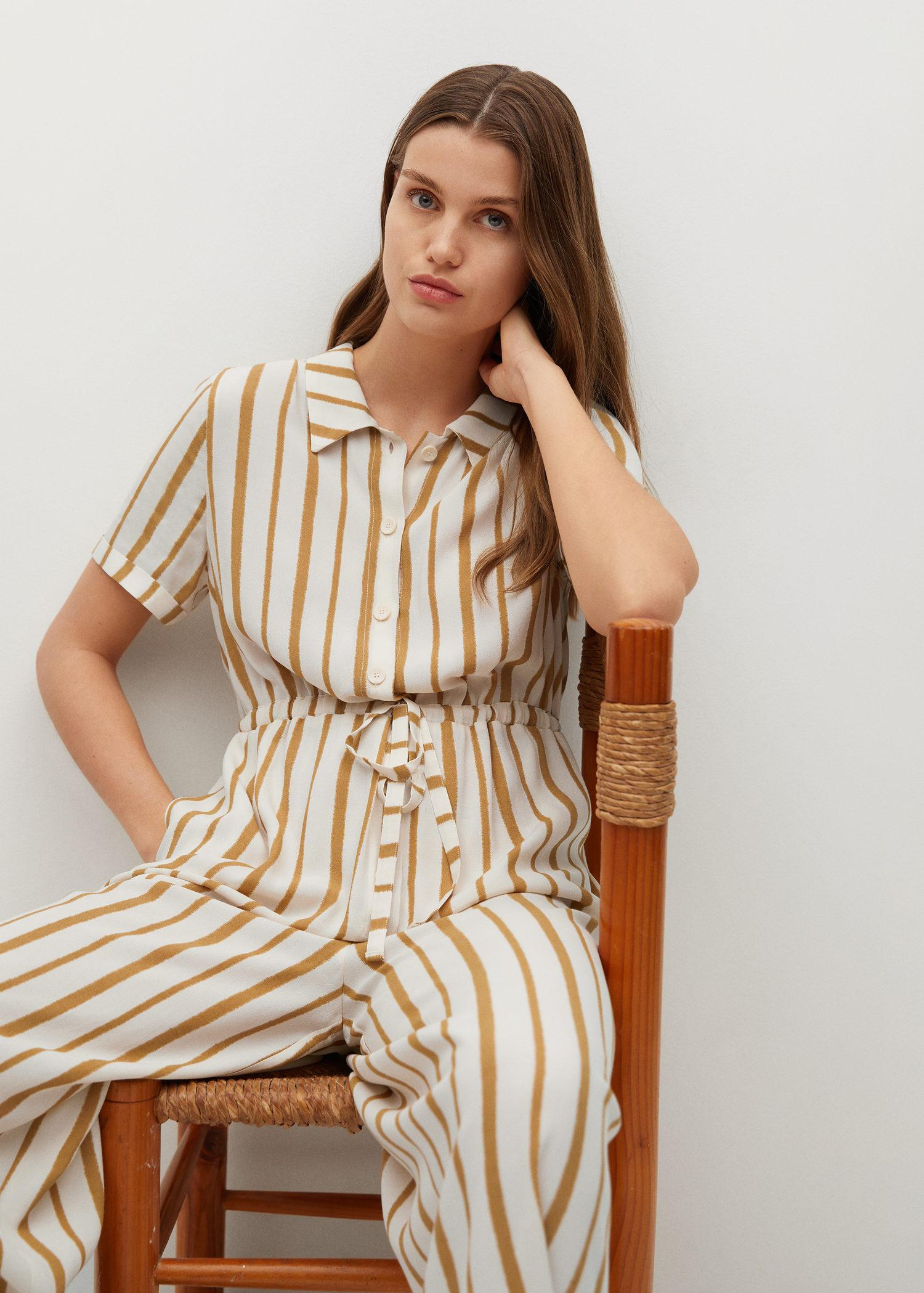Striped jumpsuit with belt 4