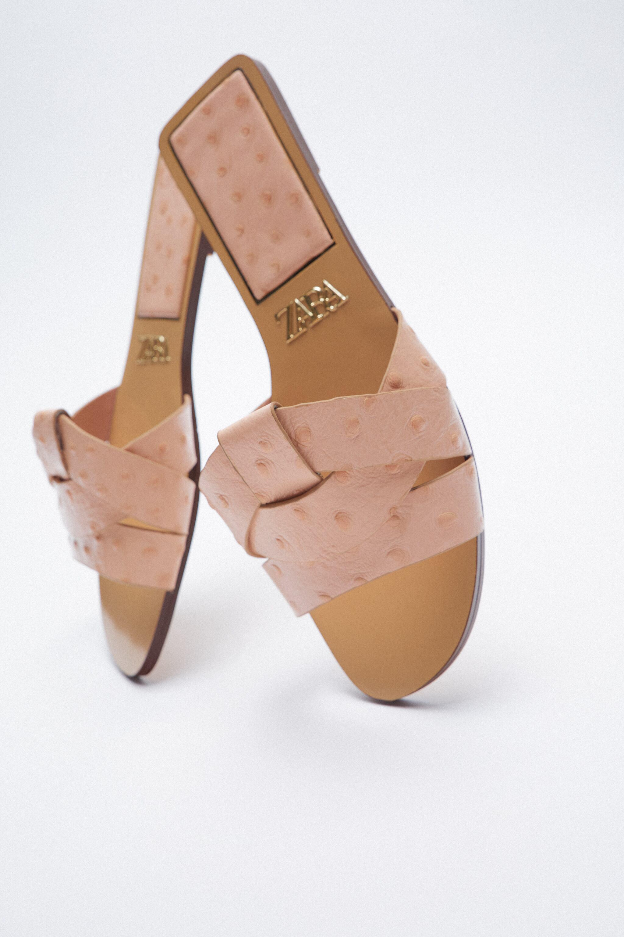 LOW HEELED CROSSED LEATHER SANDALS 4