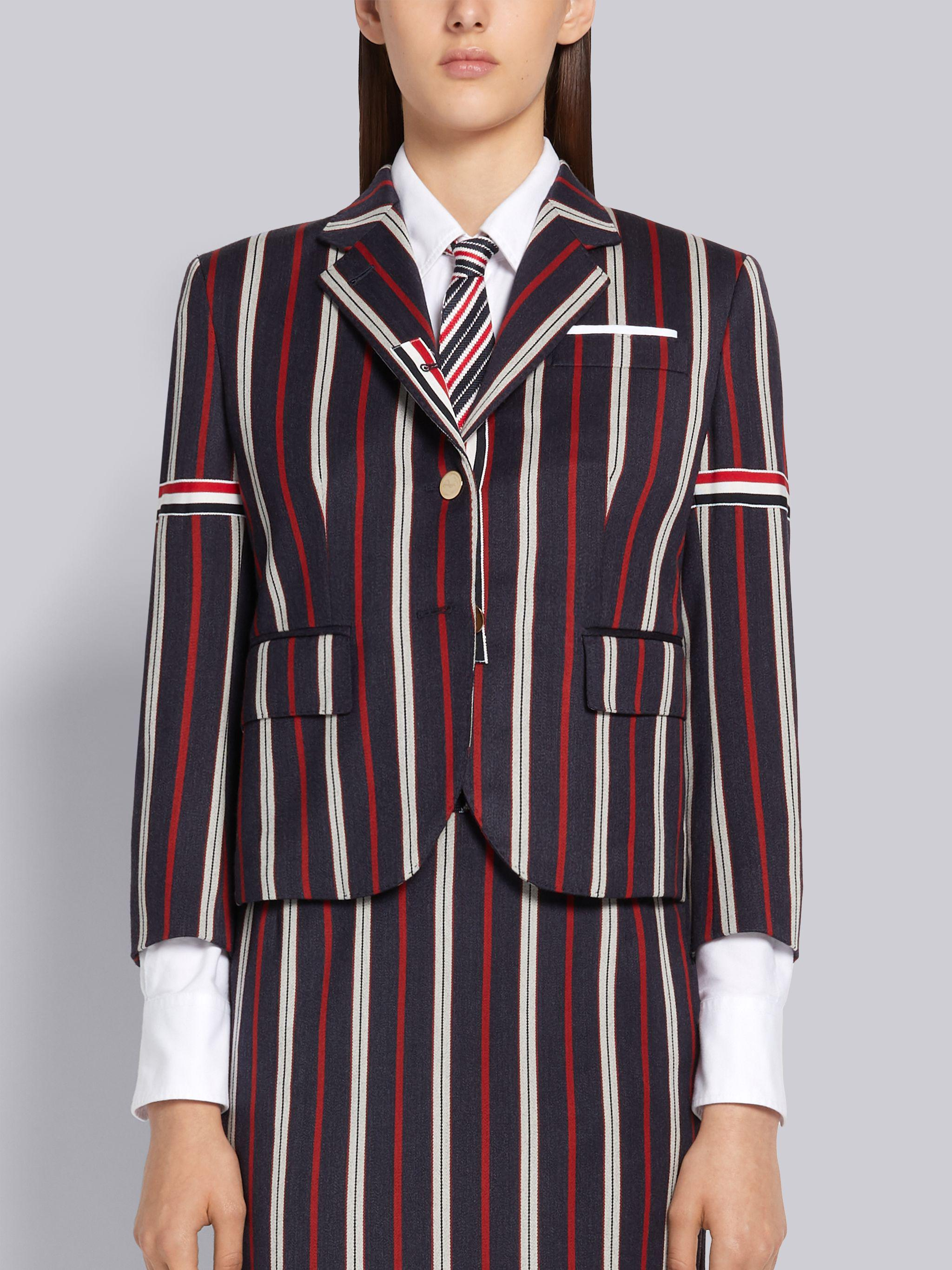 Multi-Color Wool Cotton Suiting Variegated Rep Stripe High Armhole Jacket 0