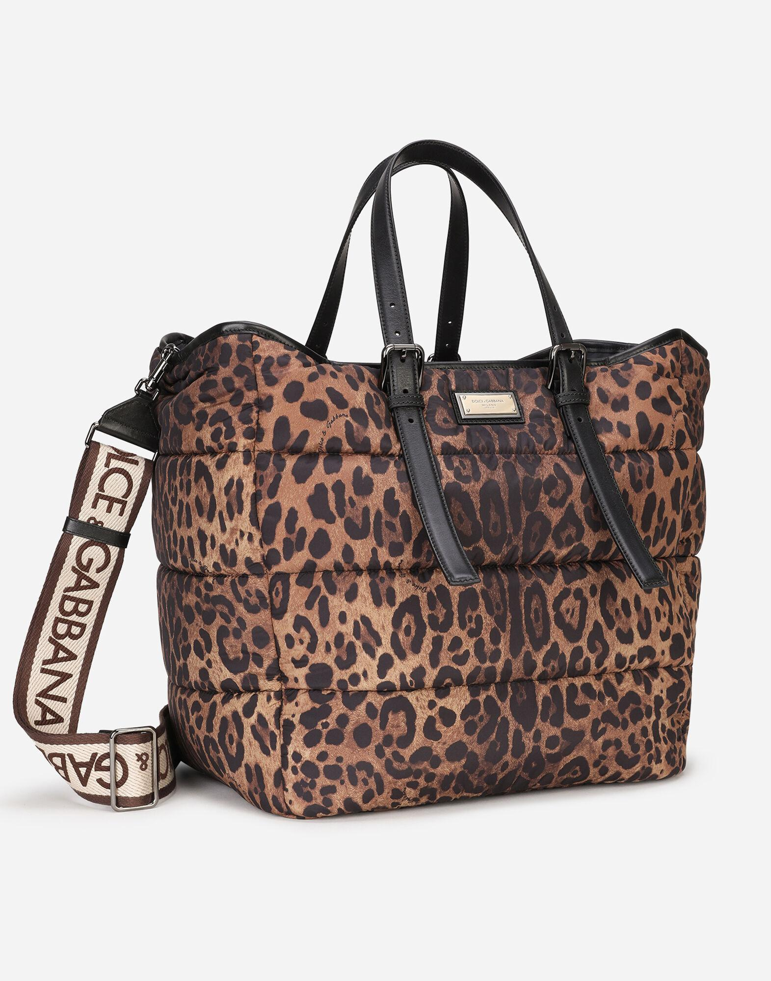Leopard-print Sicily shopper in quilted nylon 1