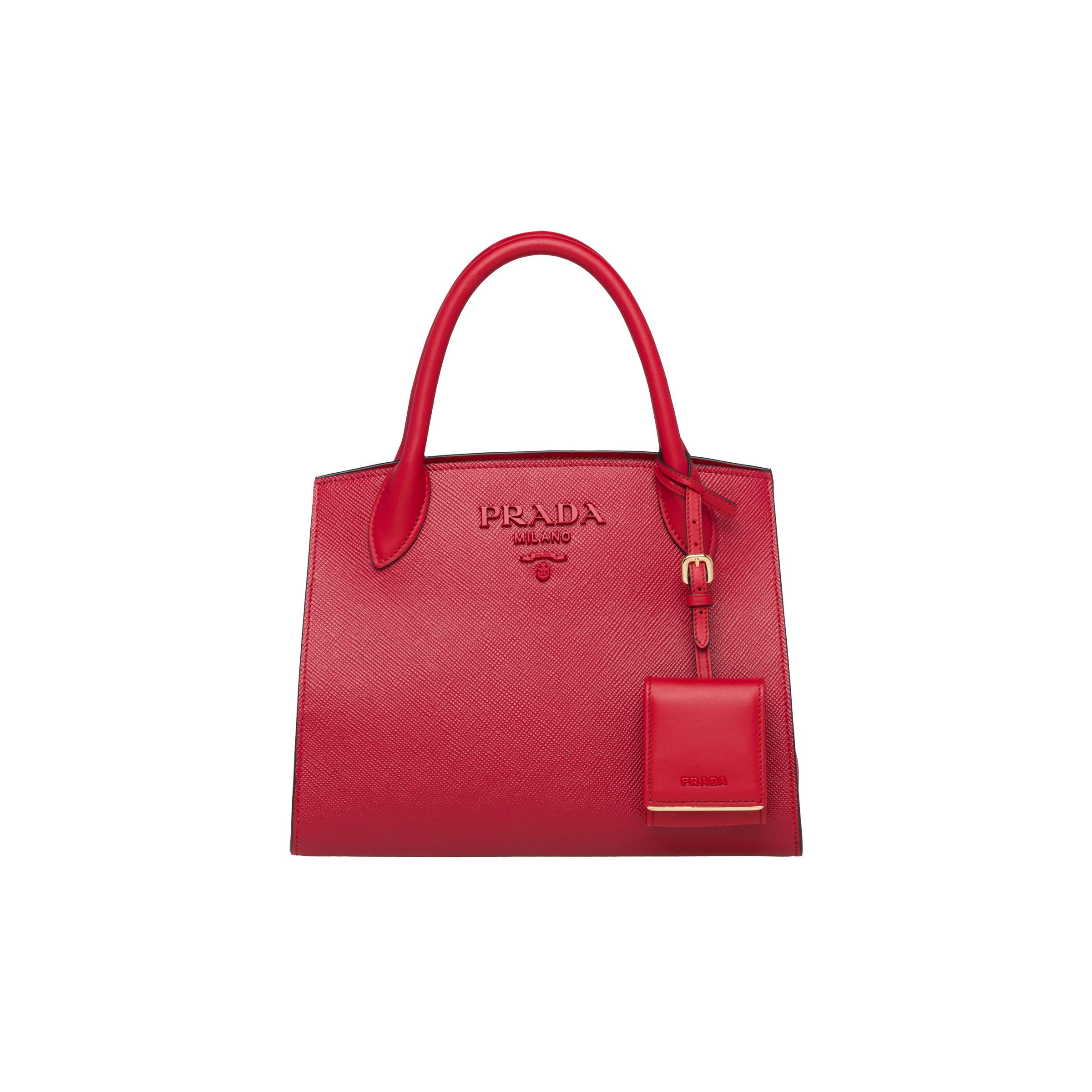 Small Saffiano Leather Prada Monochrome Bag Women Fiery Red