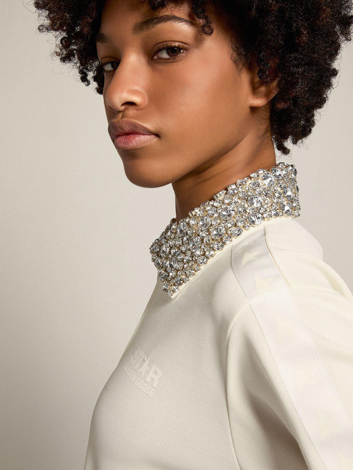 Papyrus white Denise Star Collection zipped sweatshirt with crystal collar