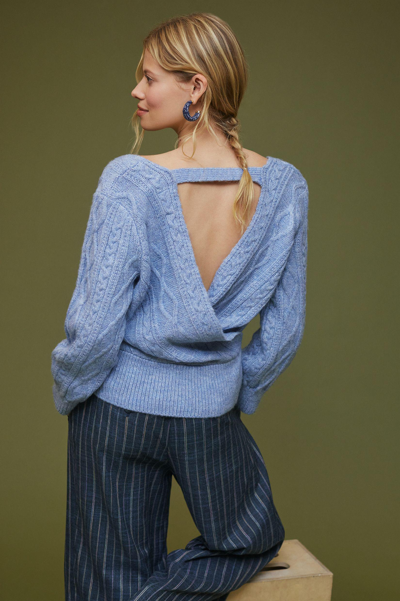 Maeve Cut-Out Cable-Knit Turtleneck Sweater