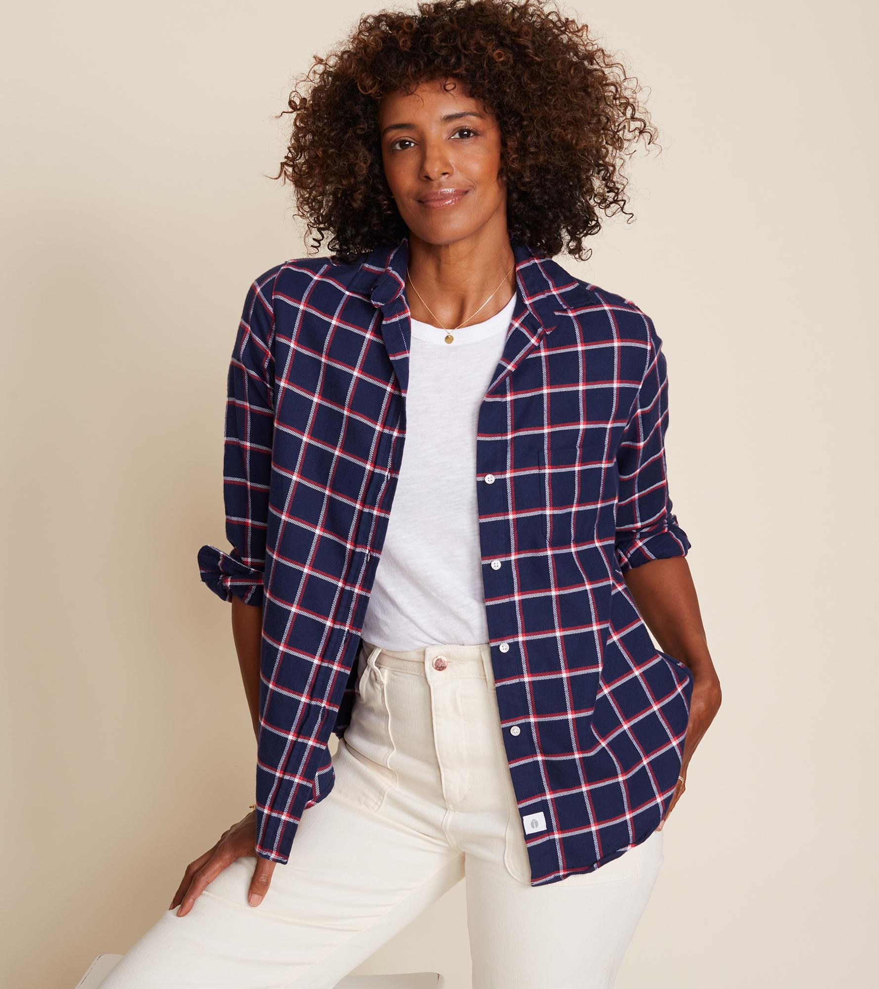 The Hero Navy with Red and White Plaid, Plush Flannel Final Sale 1