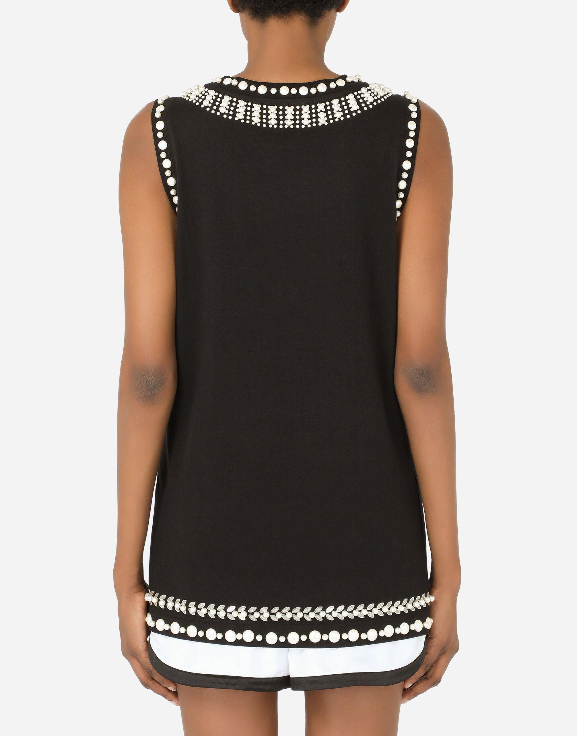 Jersey tank top with crystal details 1