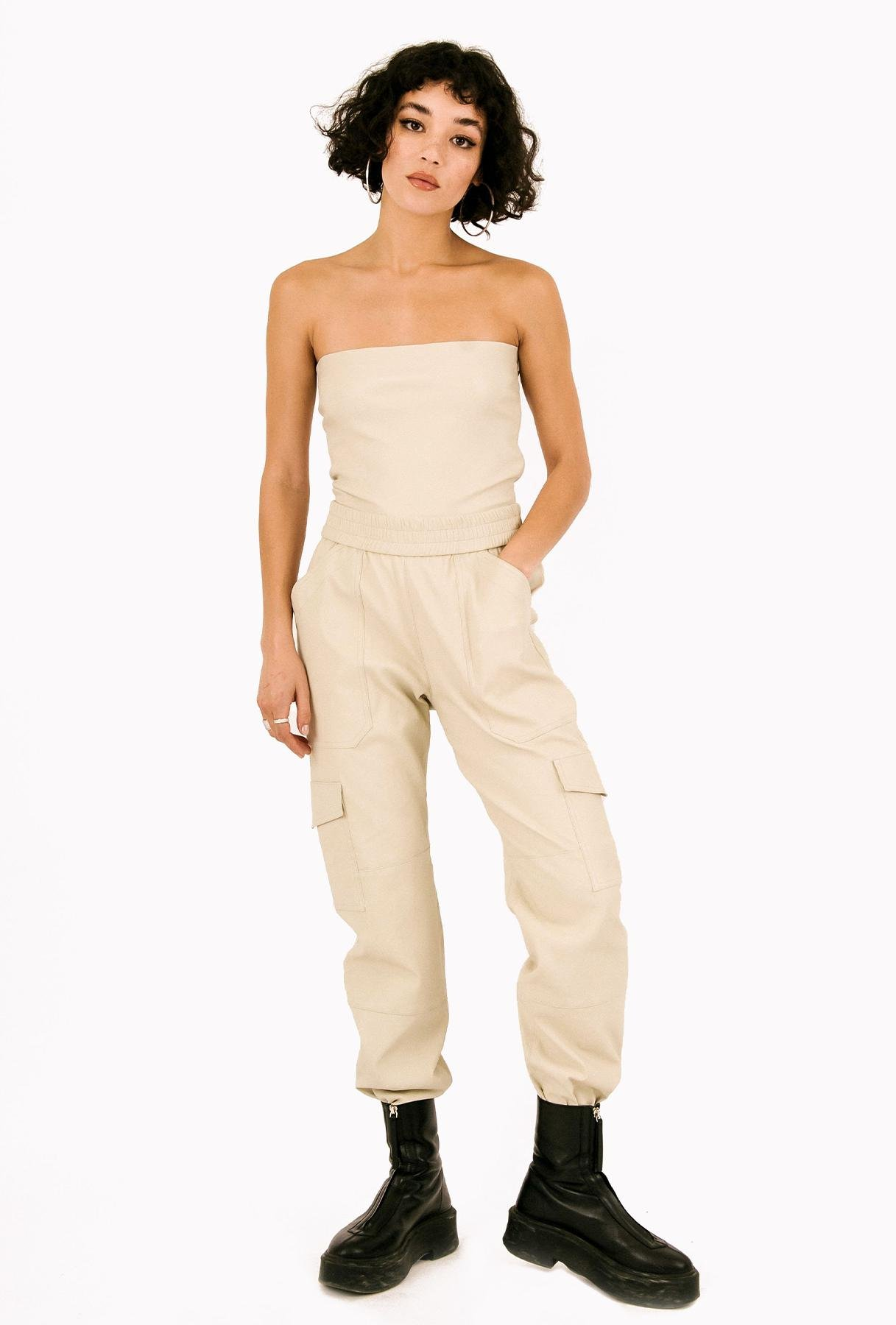 Off White Leather Cargo Jogger