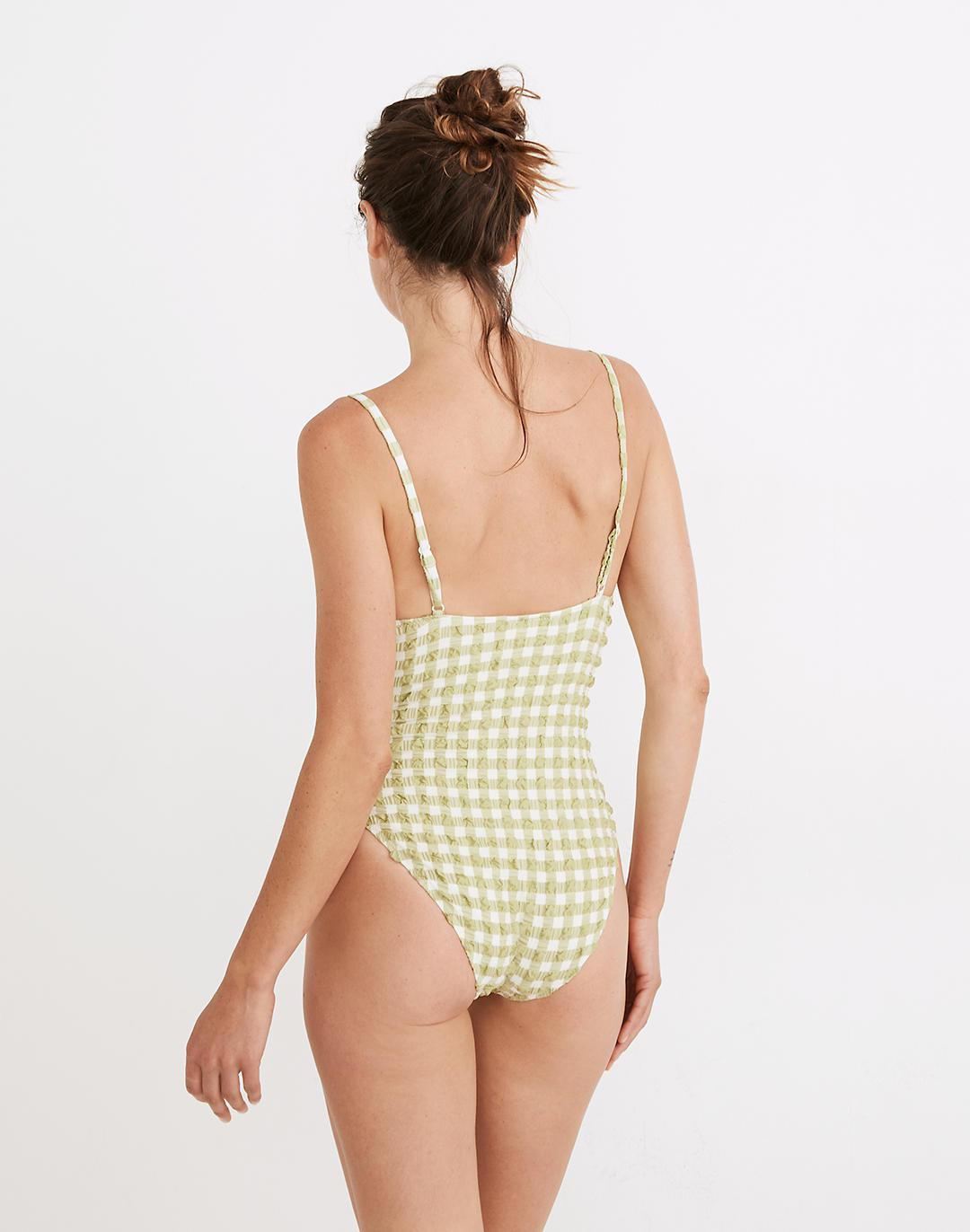 Madewell x Solid & Striped® Taylor One-Piece Swimsuit in Textural Gingham 2